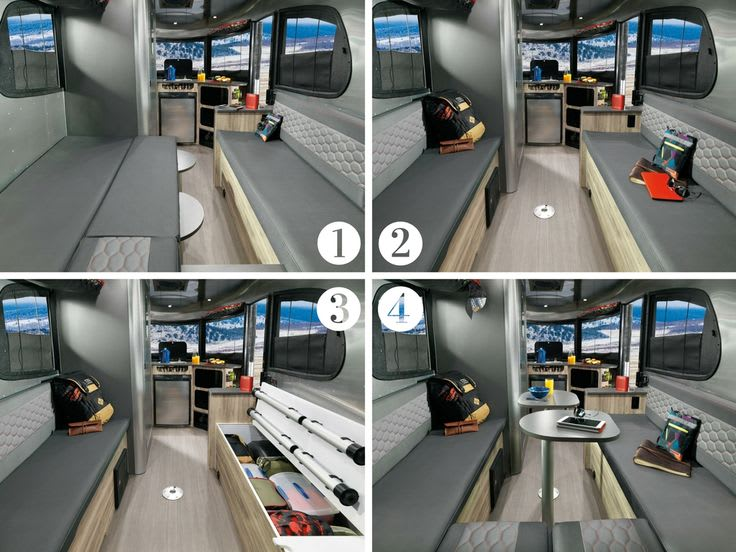 Interior from back entrance w/ different setups . Airstream Base Camp 2017