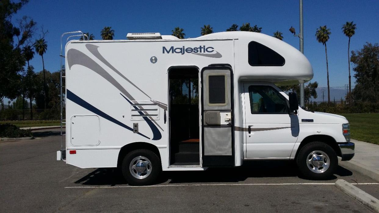 This easy to maneuver and enjoy size fits in any parking space and is super easy to navigate!  Note - an awning has been added since this pic! . Thor Motor Coach Four Winds Majestic 2012