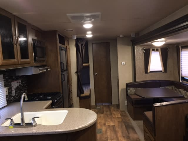Super Size Slide makes interior roomy. Forest River Wildwood 2017