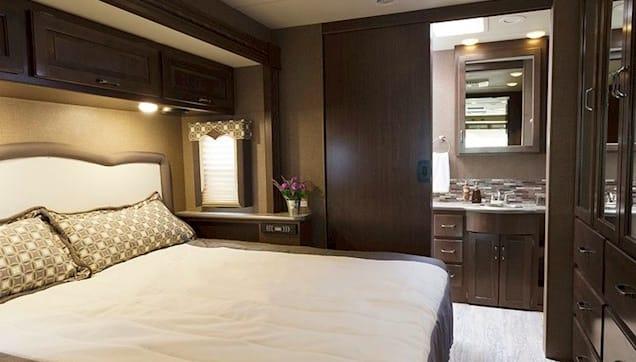King Bedroom Suite Amazing storage. Door for privacy.. Thor Motor Coach Hurricane 35M 2017