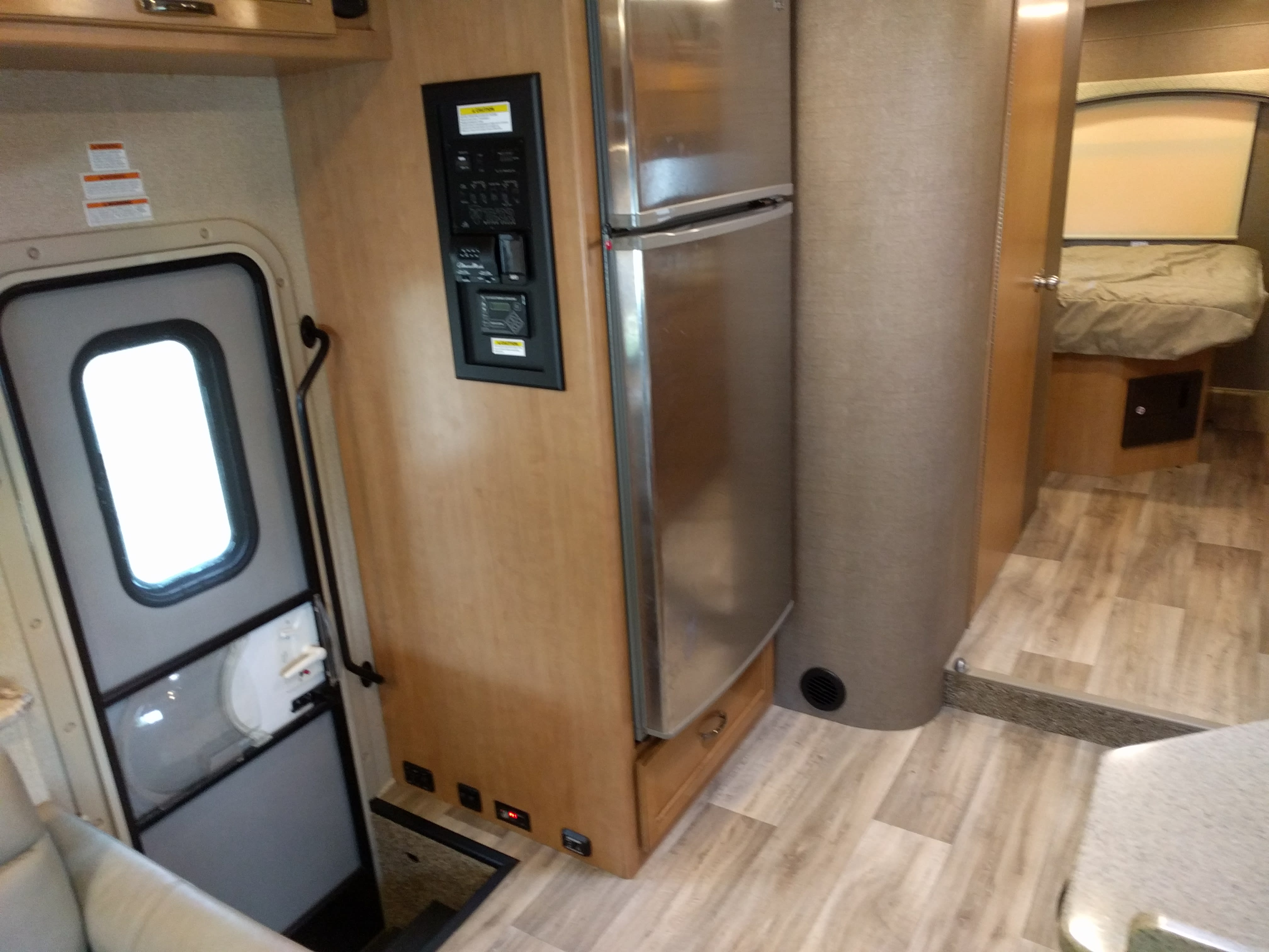 Entryway and Larger Fridge. Thor Motor Coach Four Winds 2017