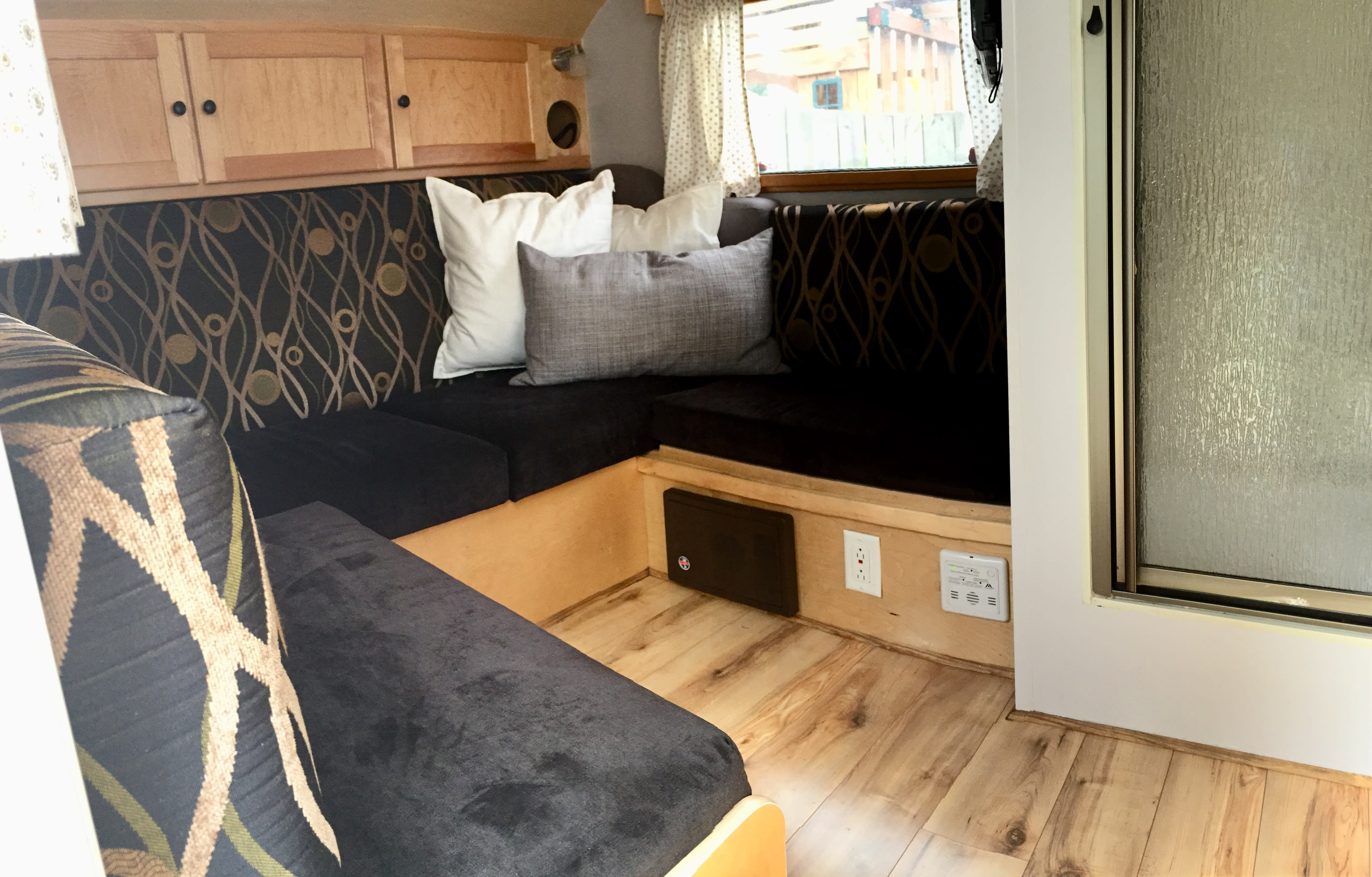 Seating Area (Converts to Queen Size Bed for sleeping). Storage available under seats.. NuCamp 320 S Max 2016