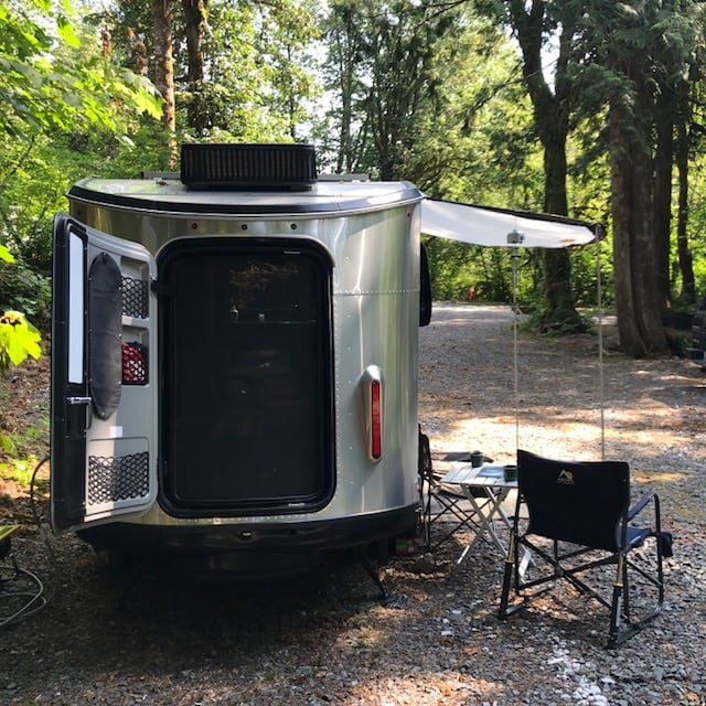 Back hatch makes loading up easy.  Also the way to haul two bikes or one recreational kayak.. Airstream Base Camp 2018