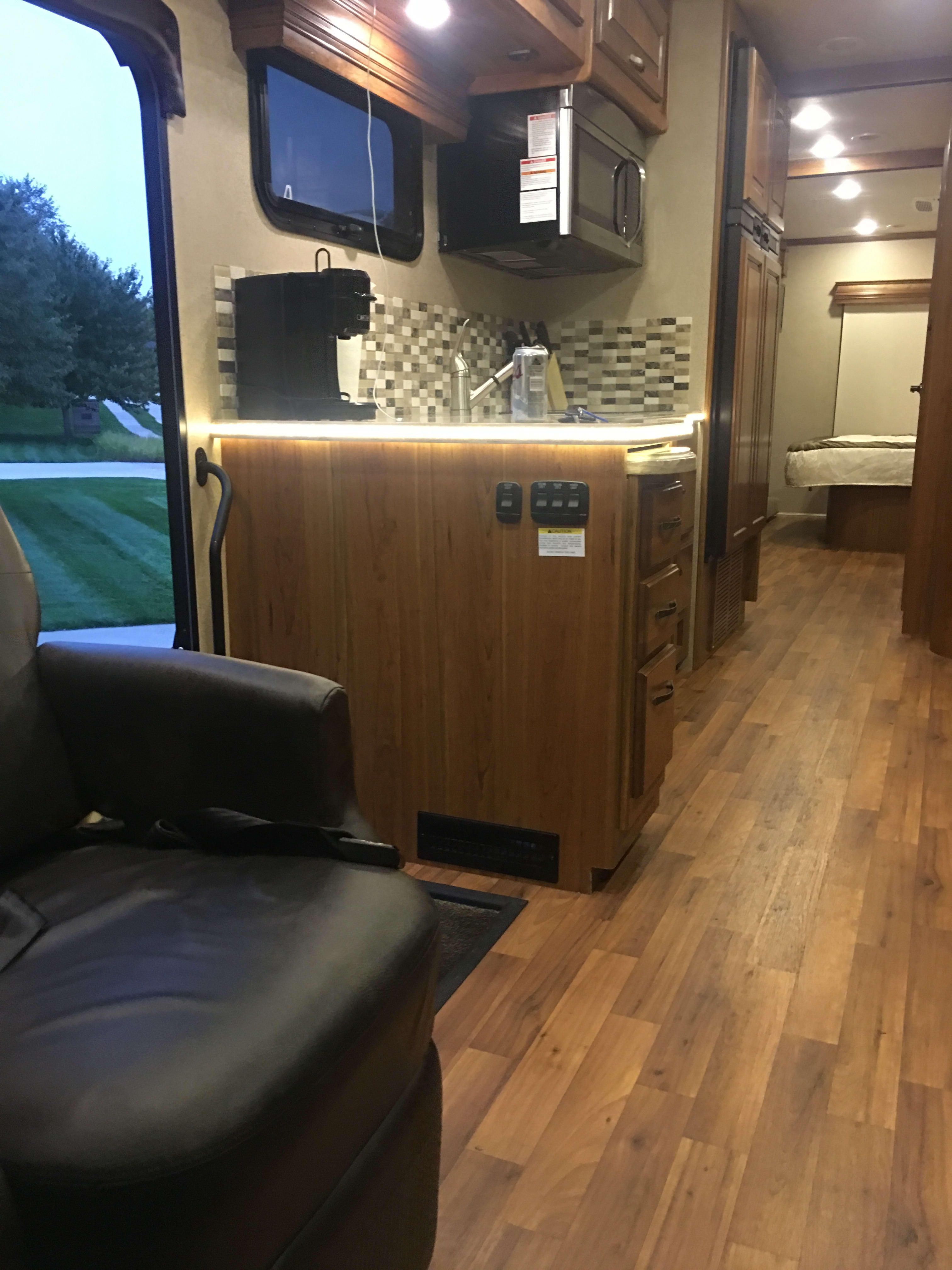 Nice size kitchen with microwave and electric stove. Jayco Seneca 2016