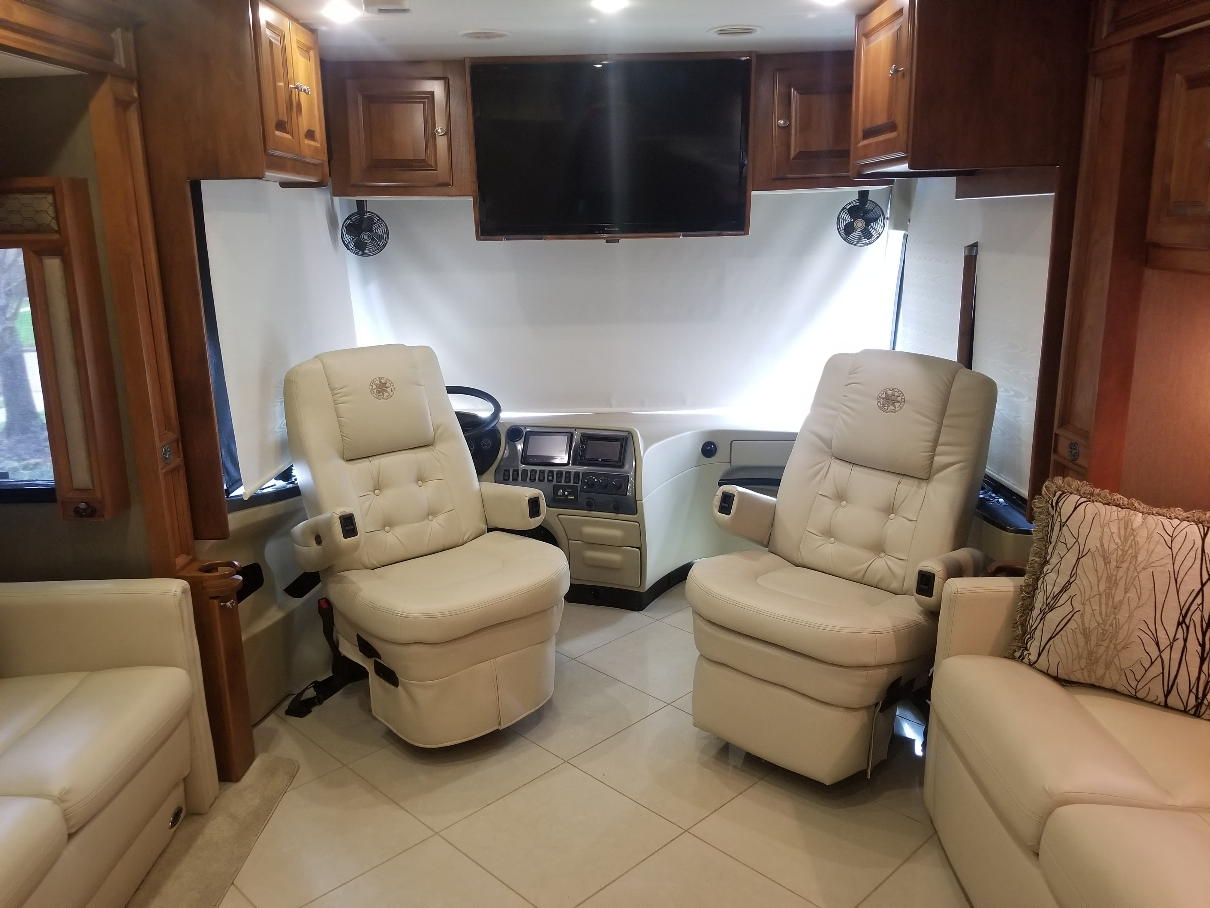 At site, comforts of relaxing in chairs. Tiffin Motorhomes Phaeton 2013