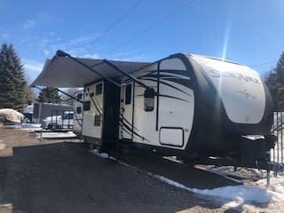 """With the slides and awning out, you are ready to enjoy your """"glamping"""" experience!!!. Palomino Solaire Eclipse 2016"""