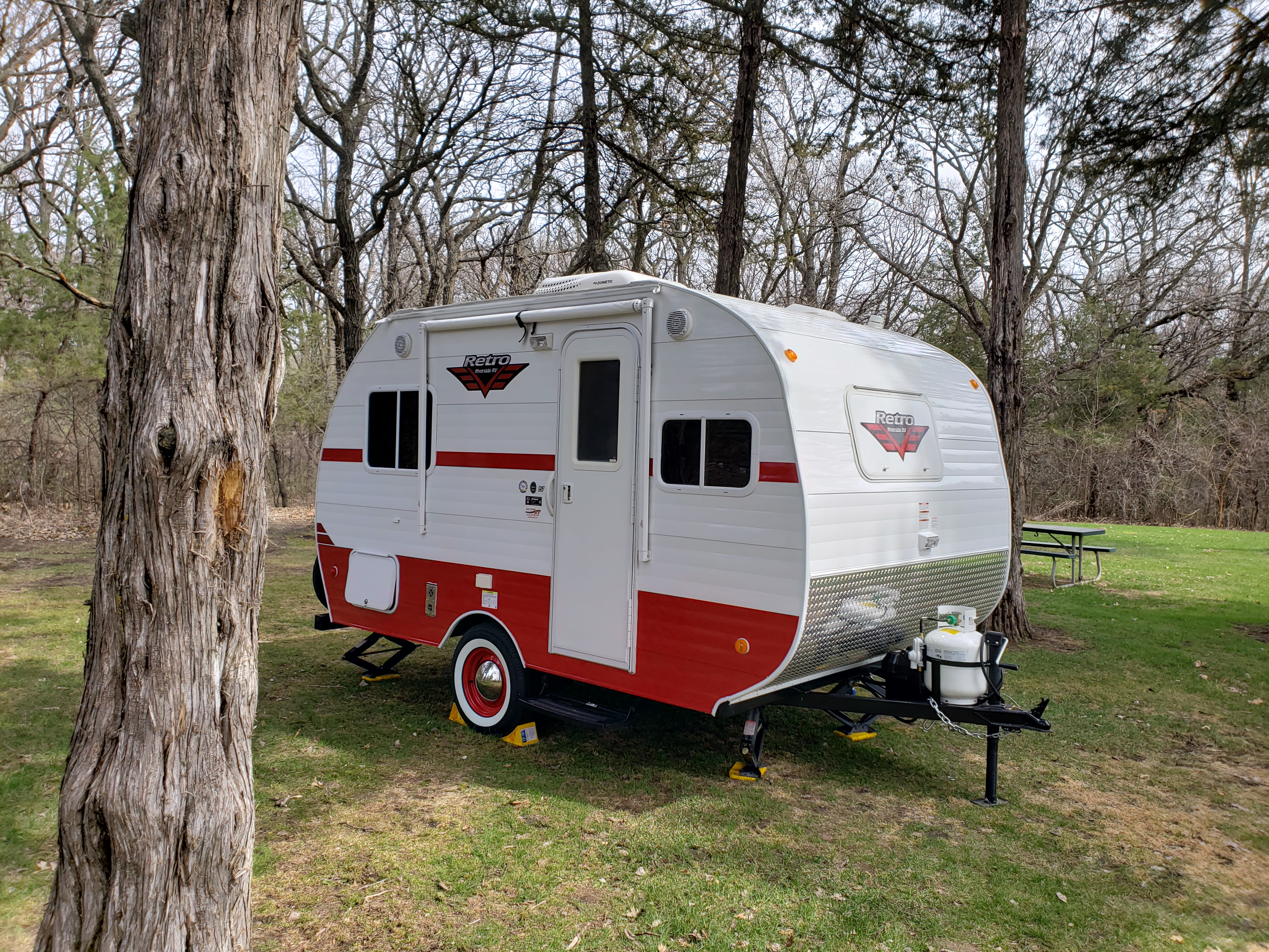 Set up and ready to camp. Riverside Rv Retro 157 2018