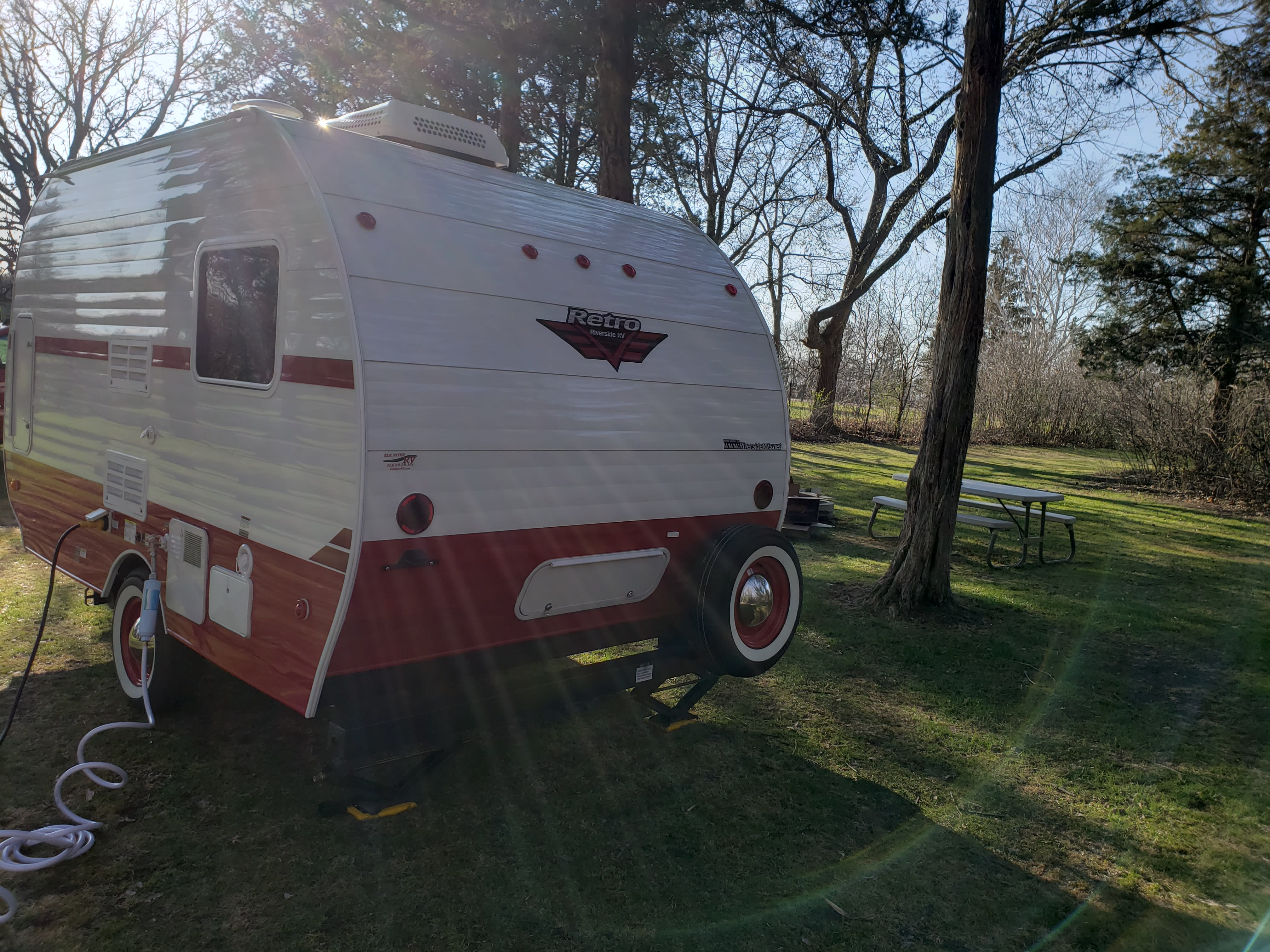 Rear showing storage. So new it doesn't even have plates yet. Riverside Rv Retro 157 2018
