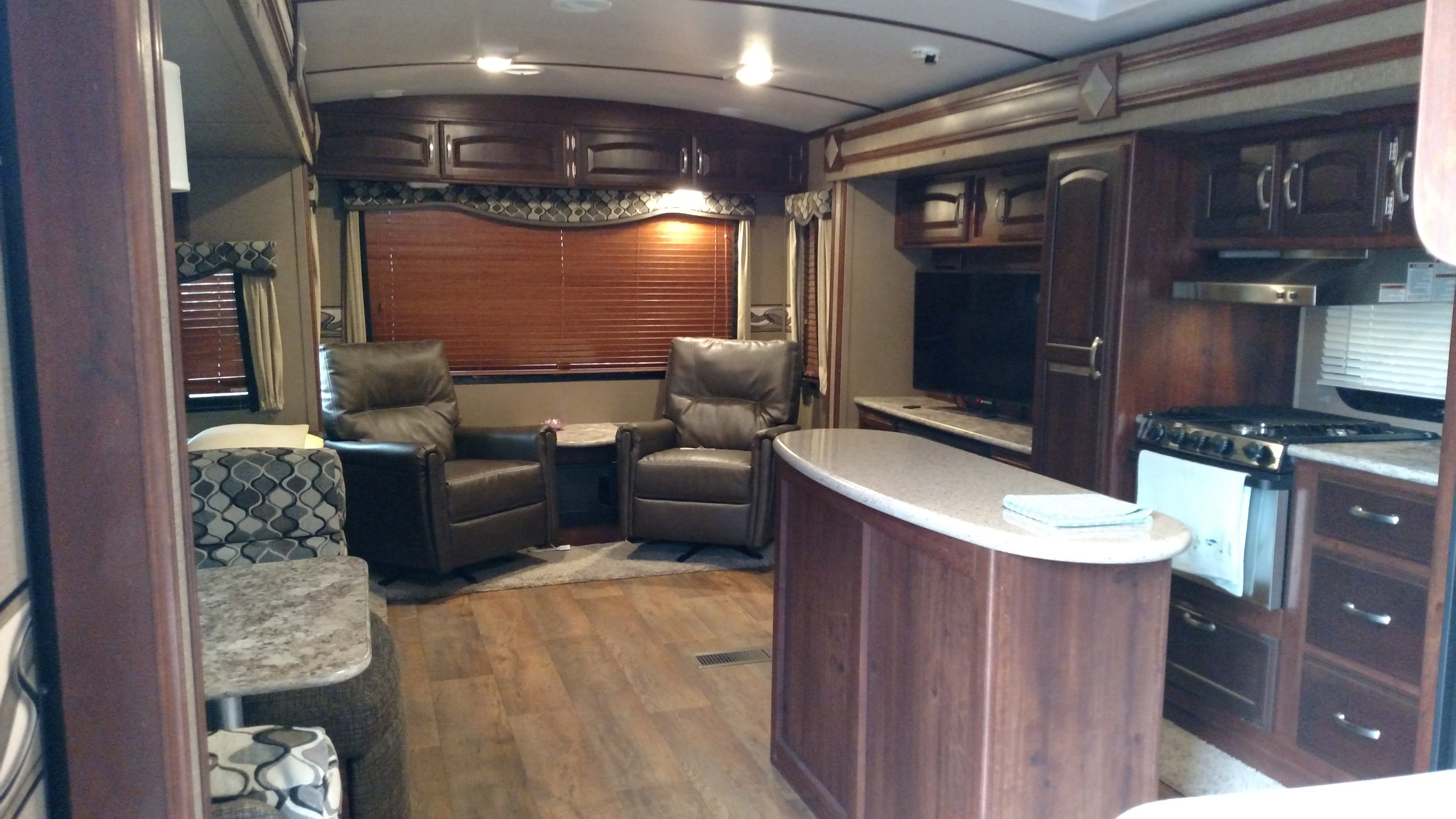 Very roomy for extra comfort. Pull out couch and two swivel chairs.. Keystone Outback 2016