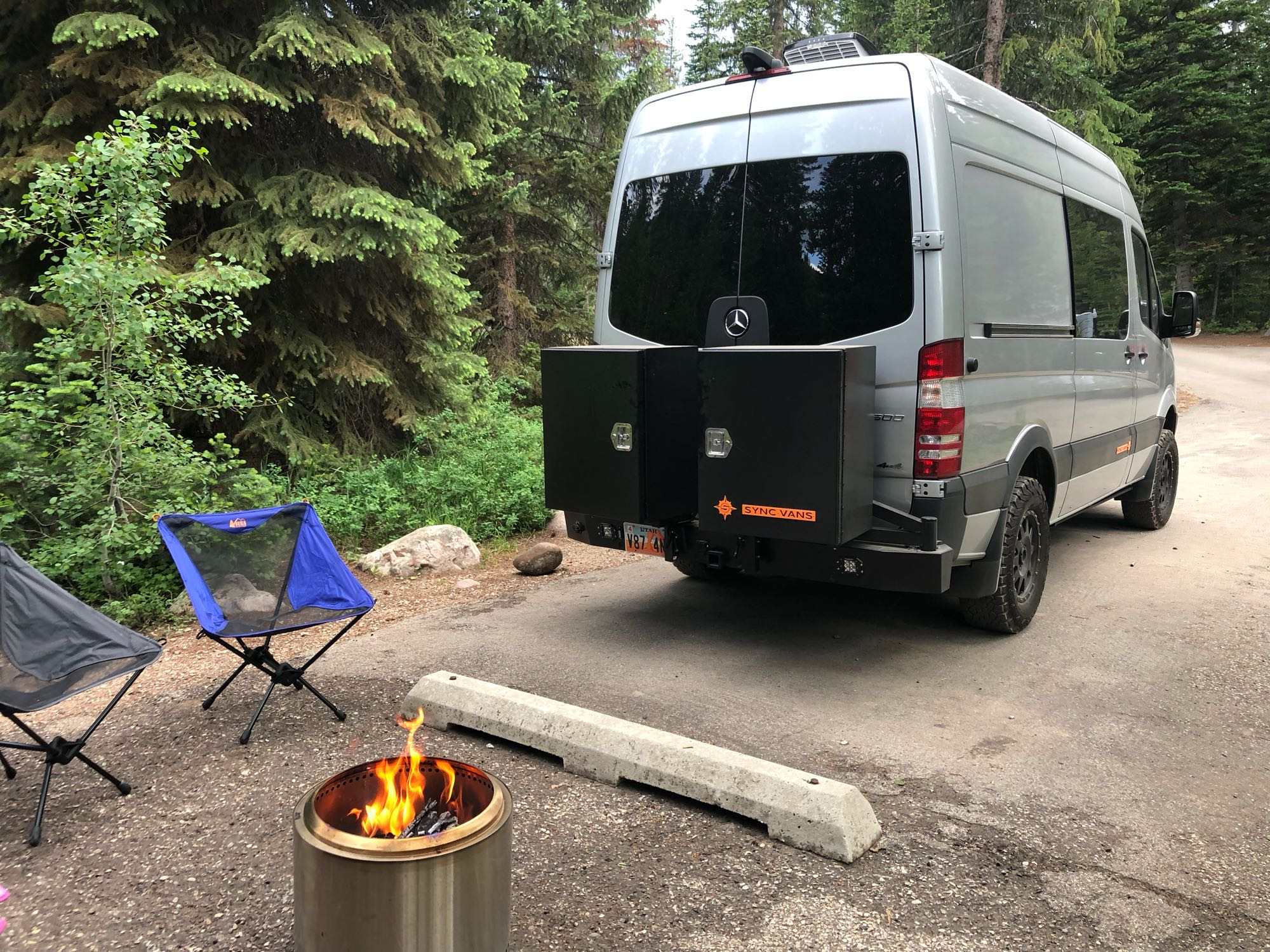 Rear storage provides ample space.  Fill it with your own essentials or borrow some of ours: firepit, coleman grill, extra chairs...we have what you need!. Mercedes-Benz Sprinter 2017