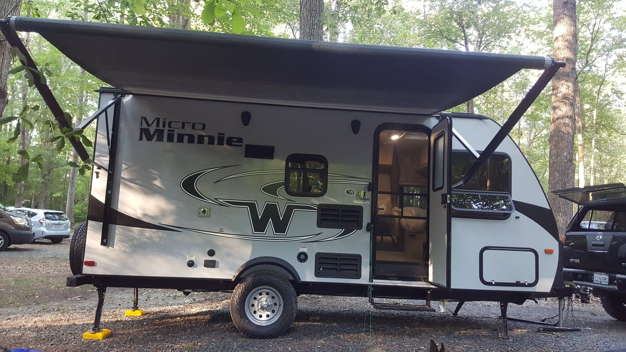 Weather was perfect for a relaxing camping trip.. Winnebago Micro Minnie 2018