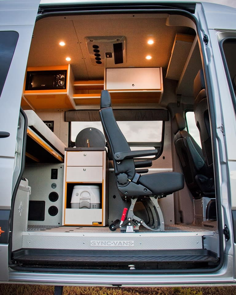 The hot/cold sink draws from a 20 gallon reservoir (as does the outdoor shower at the rear of the vehicle).  For off-grid adventures or potty-training toddlers, the optional port-a-potti is perfect ($100).  . Mercedes-Benz Sprinter 2017
