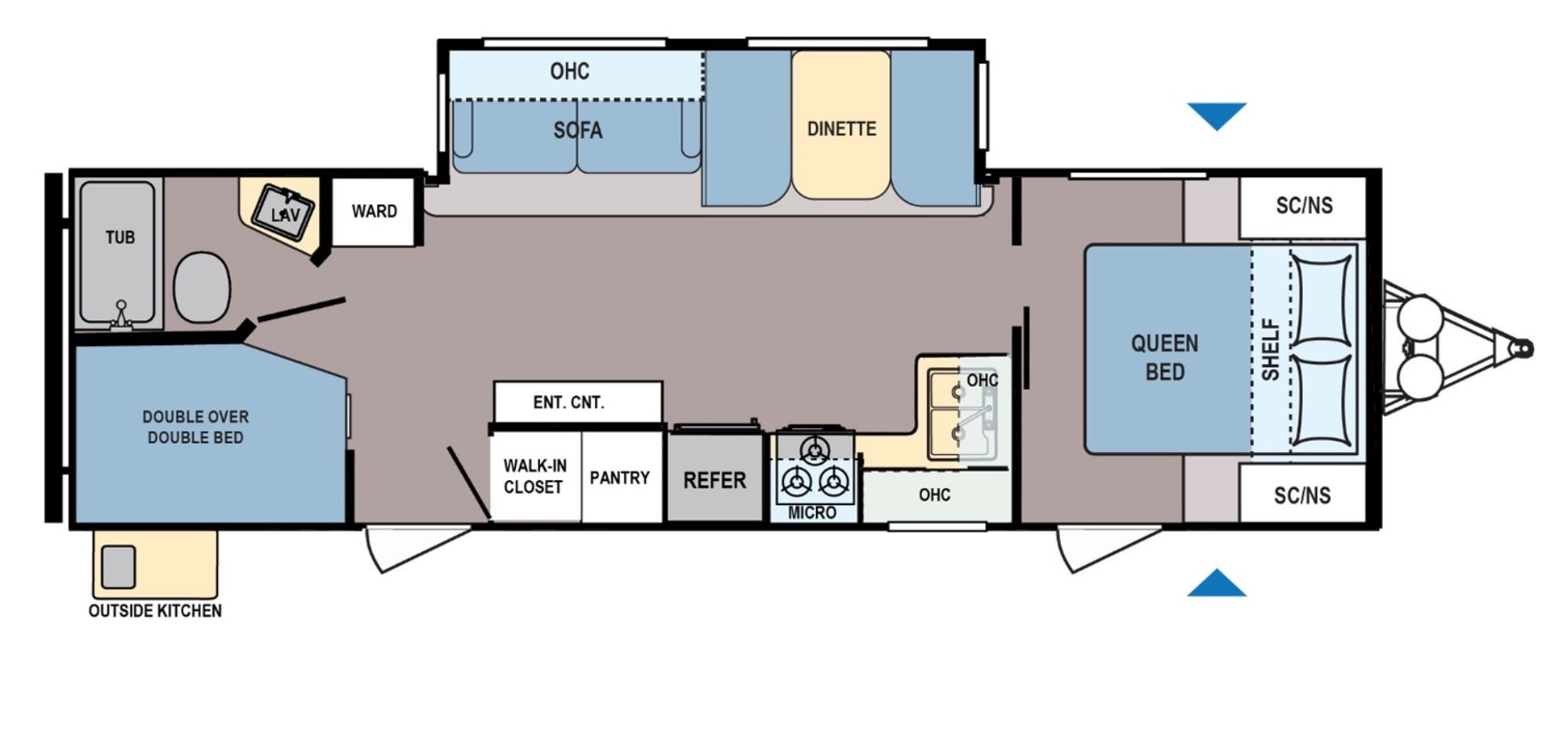 Plenty of room for all as the main room has a queen bed, the kitchen table converts to a bed, the couch doubles as a futon and there are two twin bunks with plenty of storage. . Coleman 2835 BH 2019