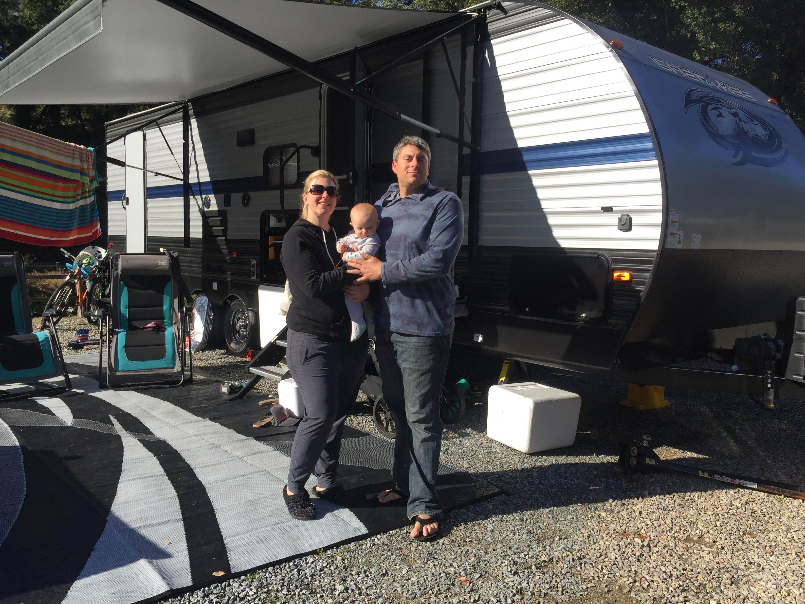 The family on our first and only RV trip to Romona, CA . Forest River Cherokee Grey Wolf 2019