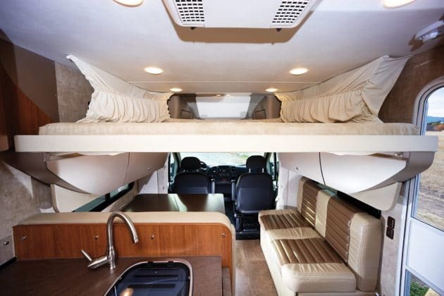 Loft bed lowers down from the ceiling.. Winnebago Trend 2014