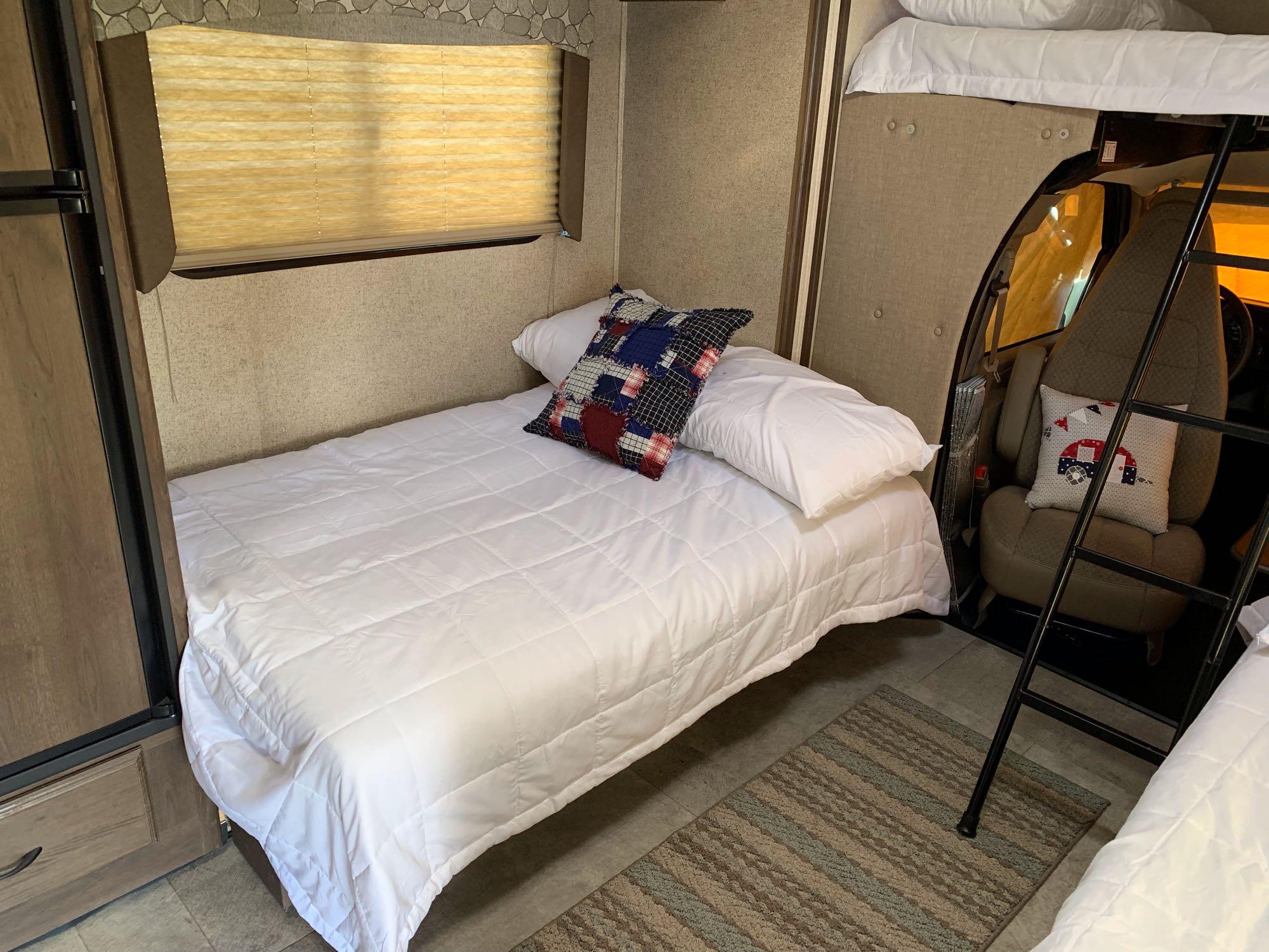 sofa makes into a bed that fits 2. Coachmen Freelander 2019