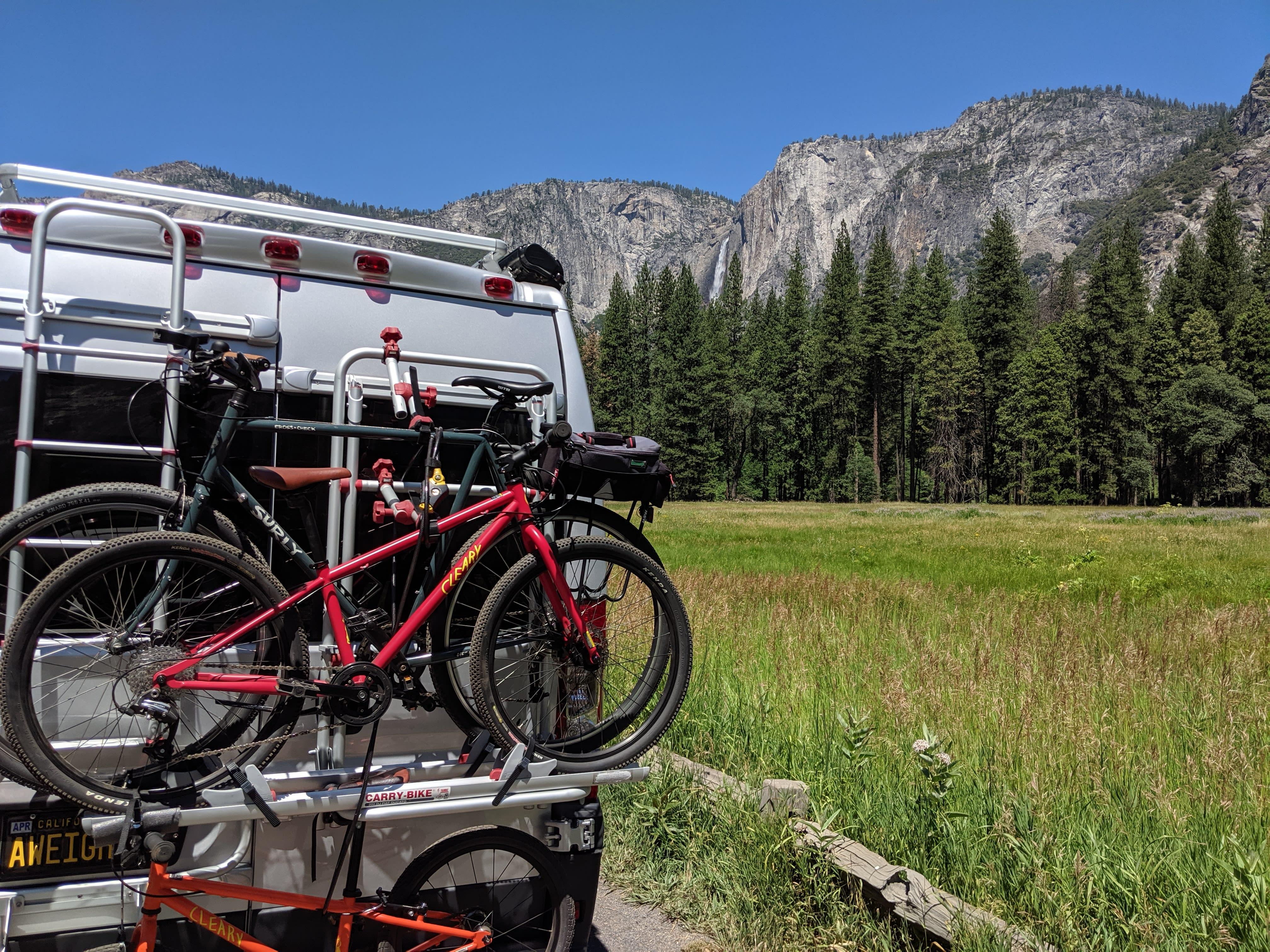 Yosemite. Holds 2 bikes, 3 if you hack it.. Hymer Sunlight V1 2017
