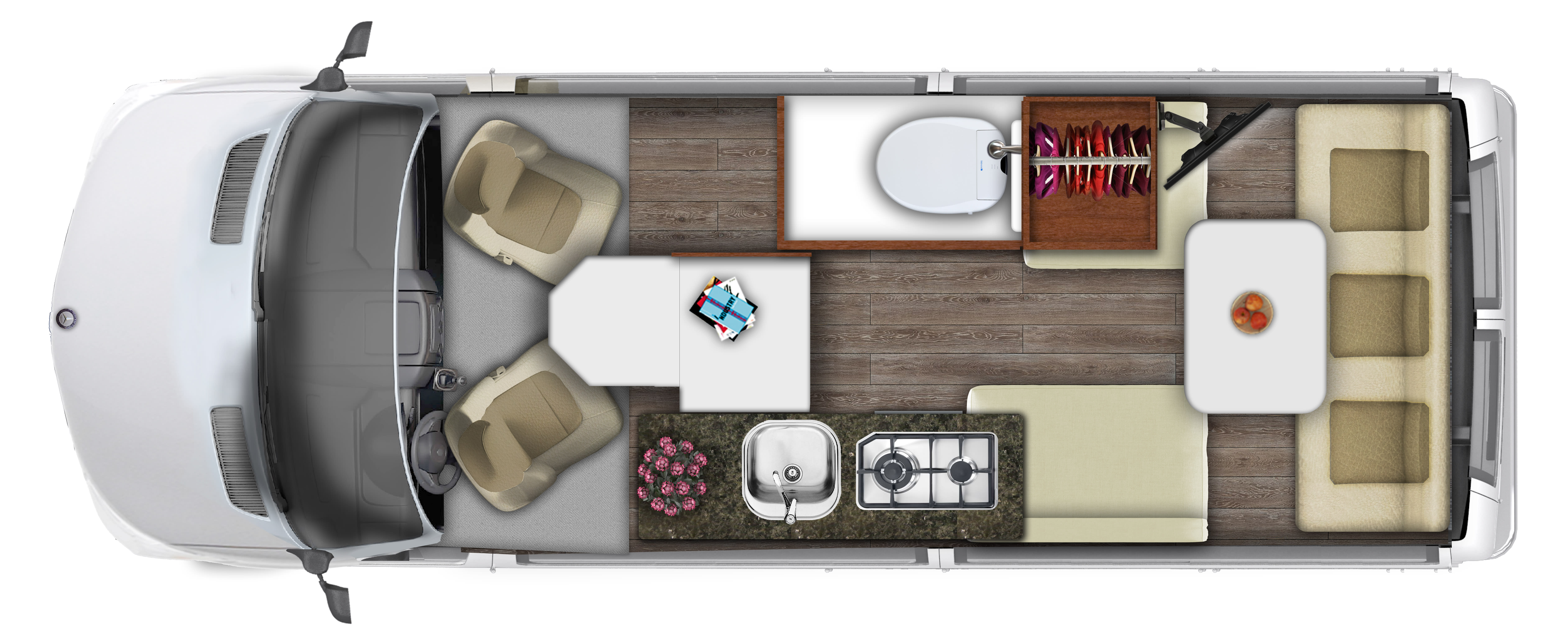 Split twin floor plan. Roadtrek Agile Ss 2017