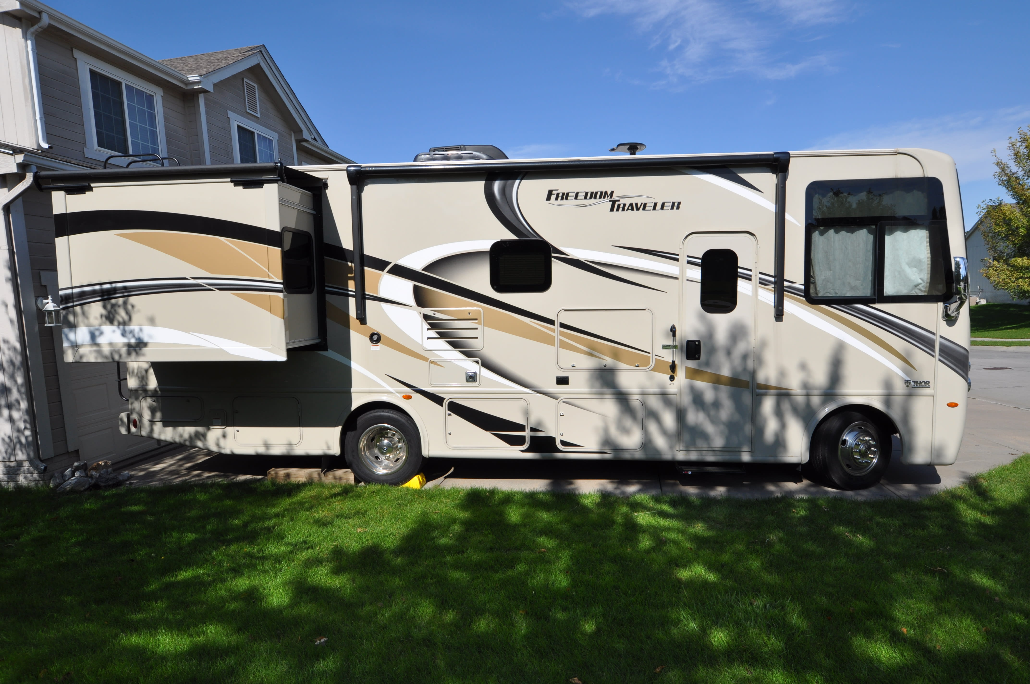 Slide out bedroom for extra space. Lots of under coach storage with auto awning and outside tv and blue tooth sound system.. Thor Motor Coach A.C.E 2019