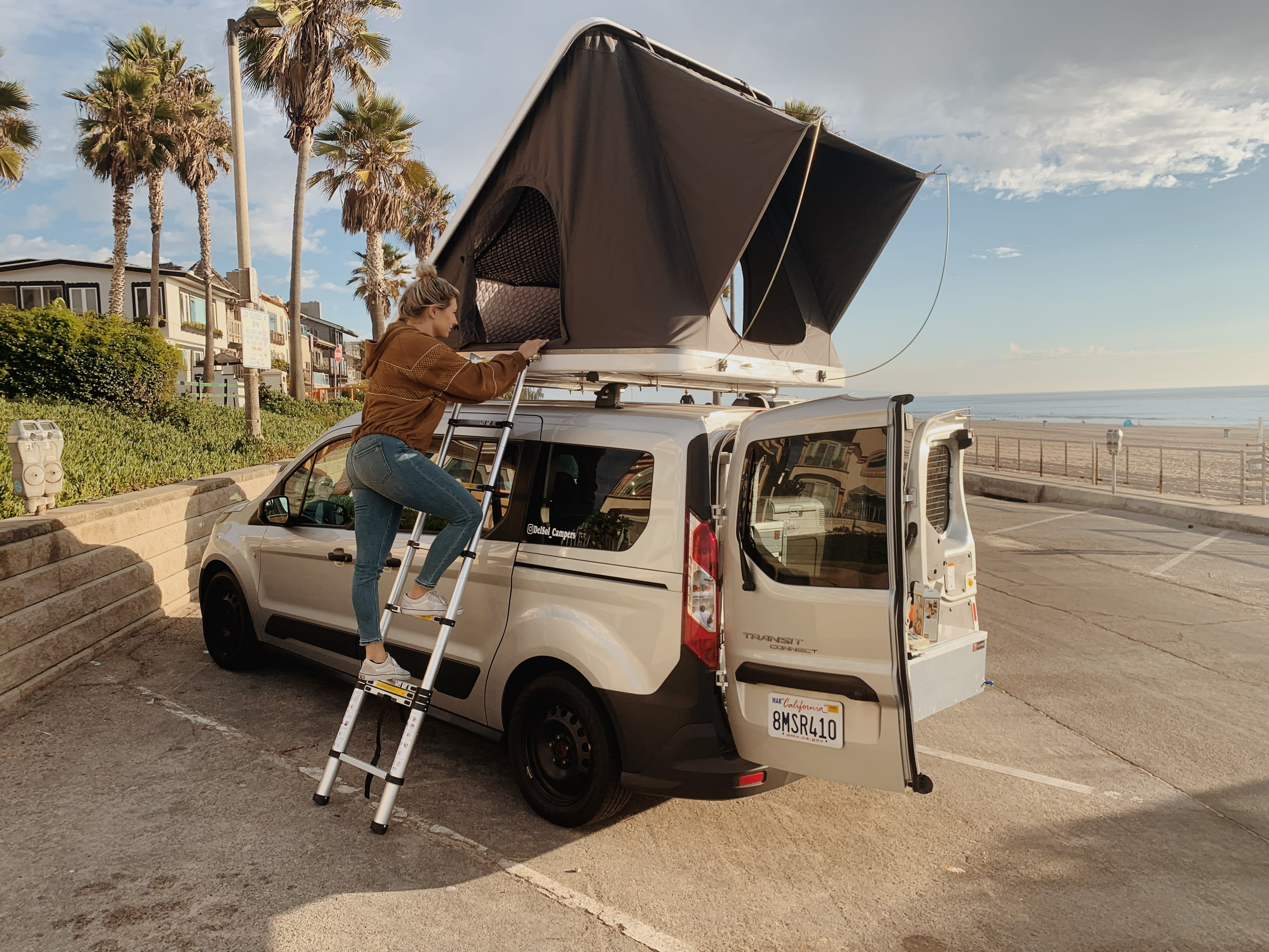 Easy access via ladder to roof top tent | Del Sol Campers. Ford Transit Connect Wagon 2016