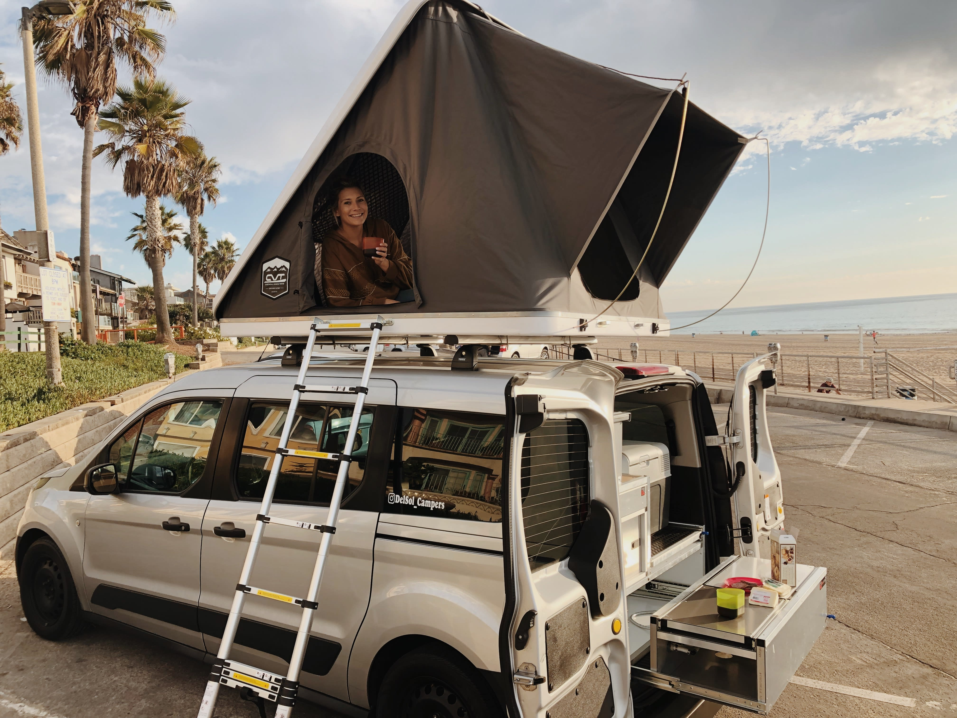 Relax and enjoy the view from the roof | Del Sol Campers. Ford Transit Connect Wagon 2016