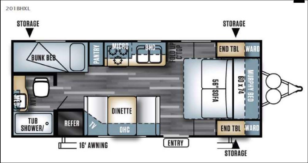 Floorplan of this RV. Forest River Salem Cruise Lite 2017