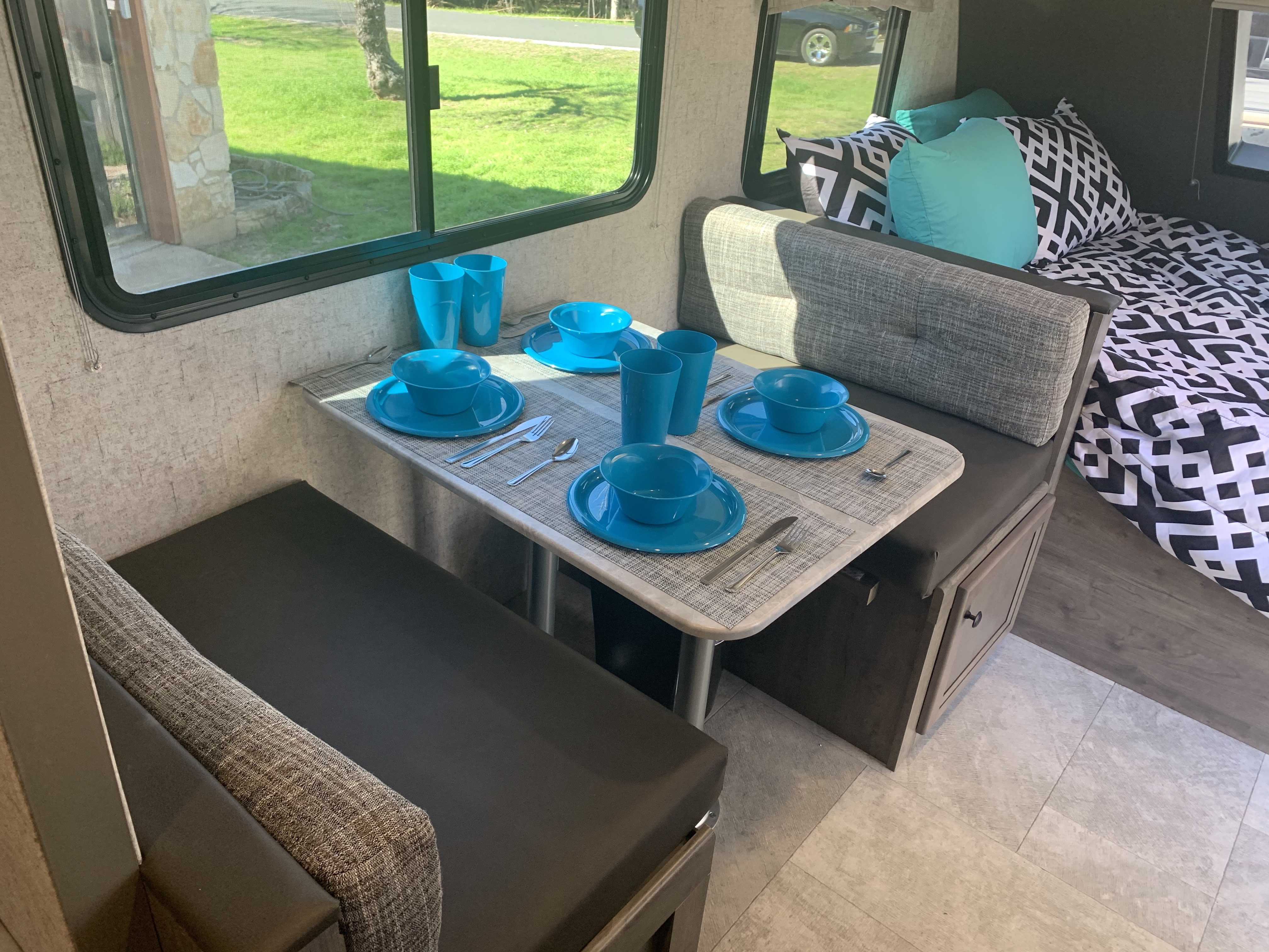 All kitchenware is included with our rentals. This includes flatware, plates and bowls for 8, pots, pans, coffee maker, coffee mugs, a crockpot, a propane grill and more!. Coachmen Apex 2020