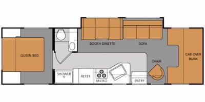 Floor plan, however the bathroom and shower are switched.. Ford Fourwinds 2012