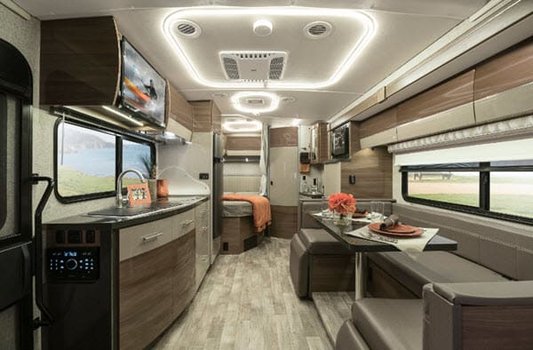 Beautiful floor plan with a slide out that give room to move around freely.  U-shaped dinette that seats 5-6 people comfortably.. Winnebago Navion 24J 2019