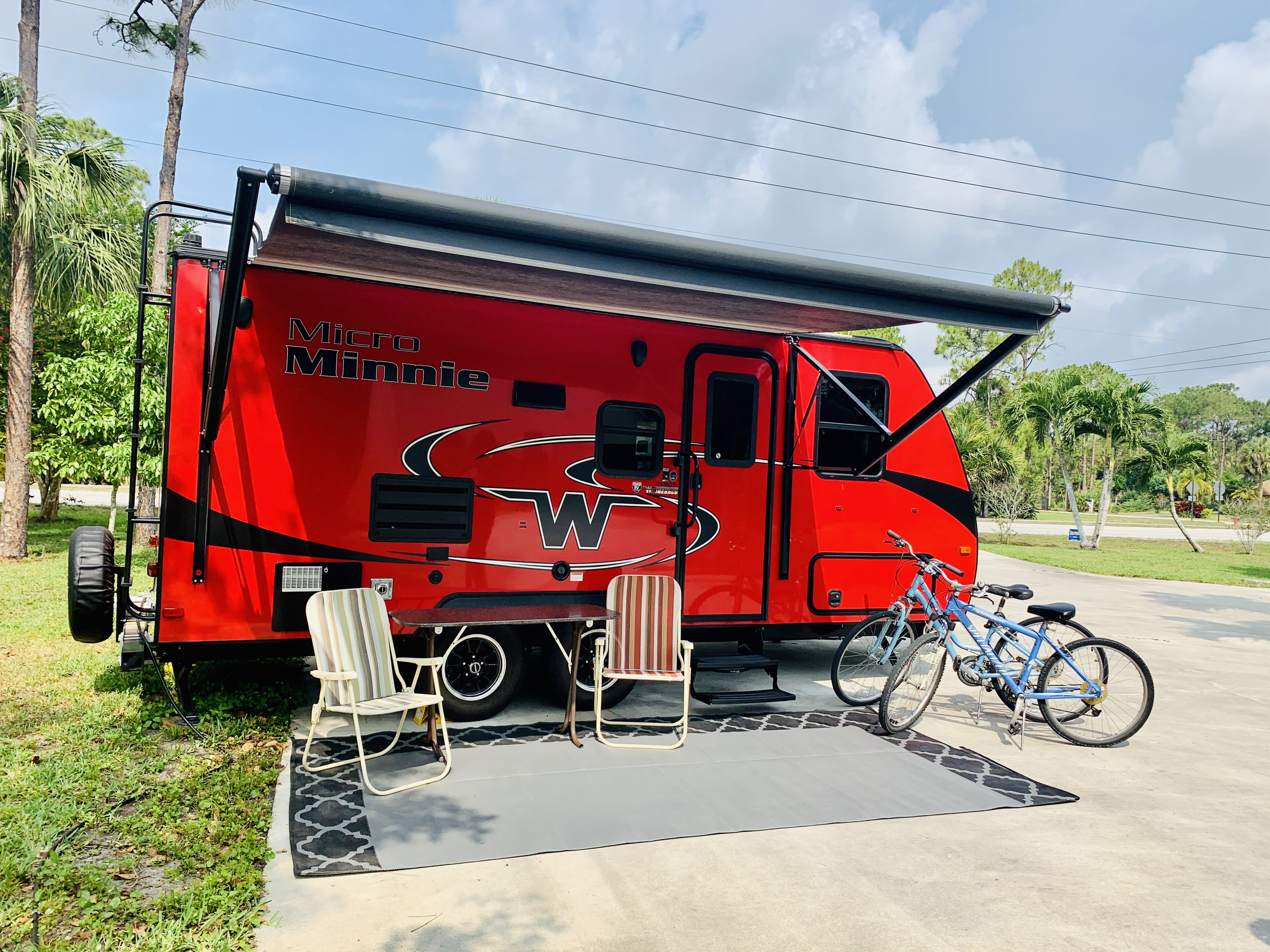 Standard campsite set up. Winnebago Micro Minnie 2018