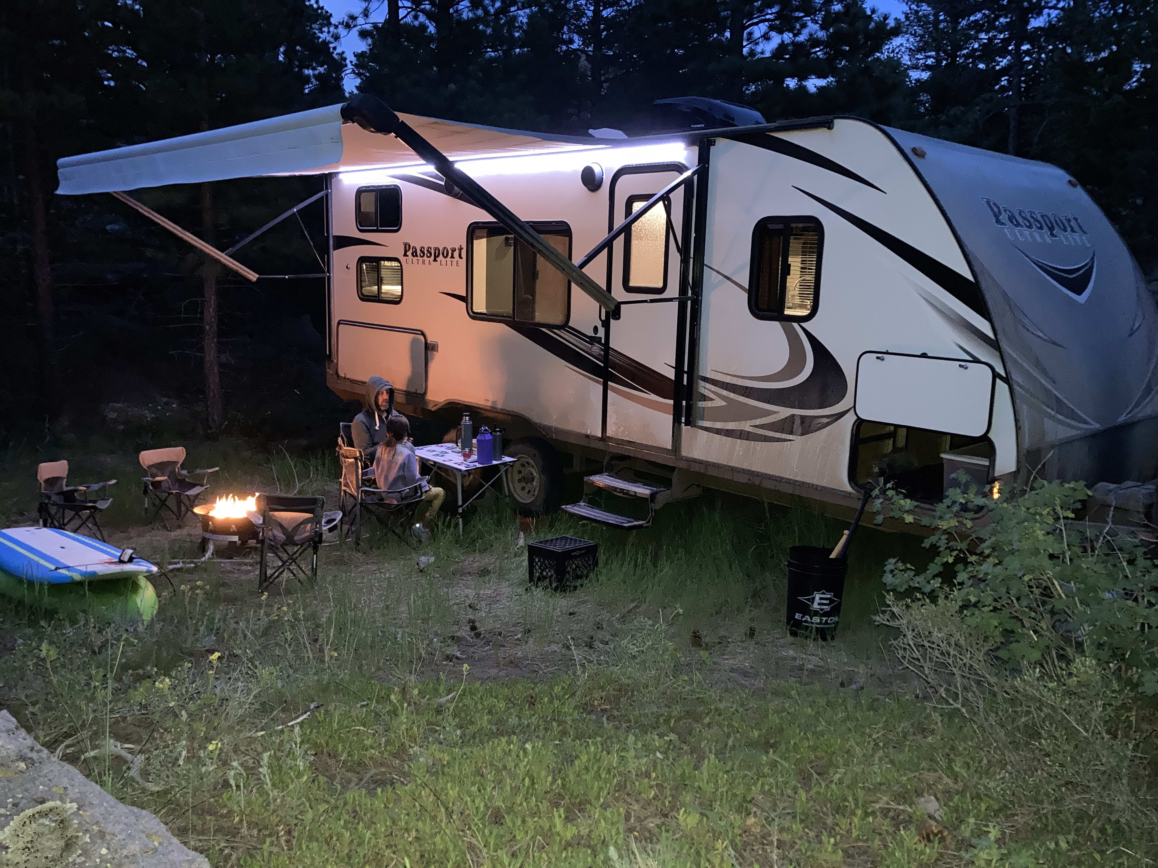 Card games and night life on our latest camping trip to Red Feather Lakes June 2020. Keystone Passport 2017