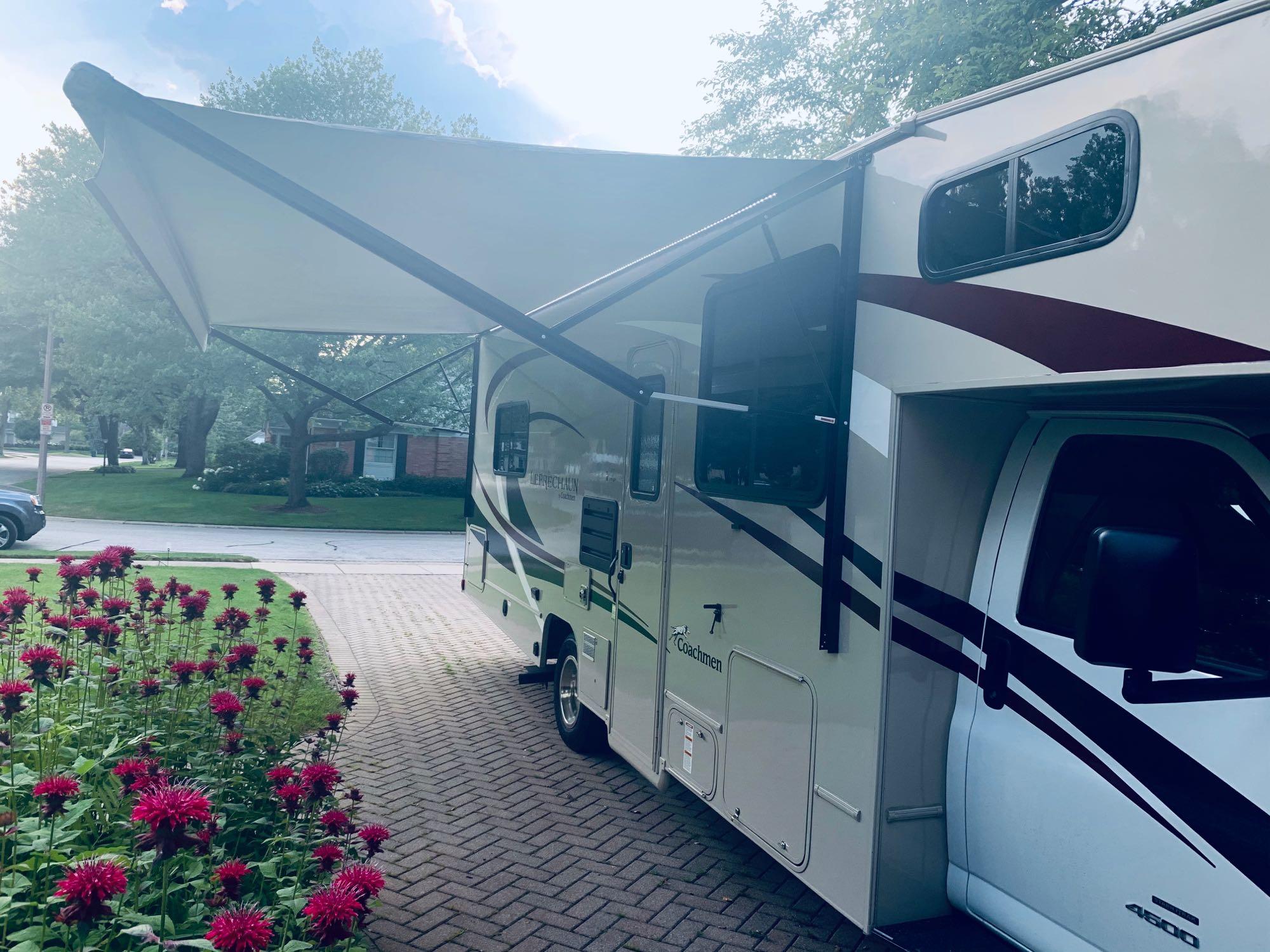 The awning provides great shade.. Coachmen Leprechaun 2020