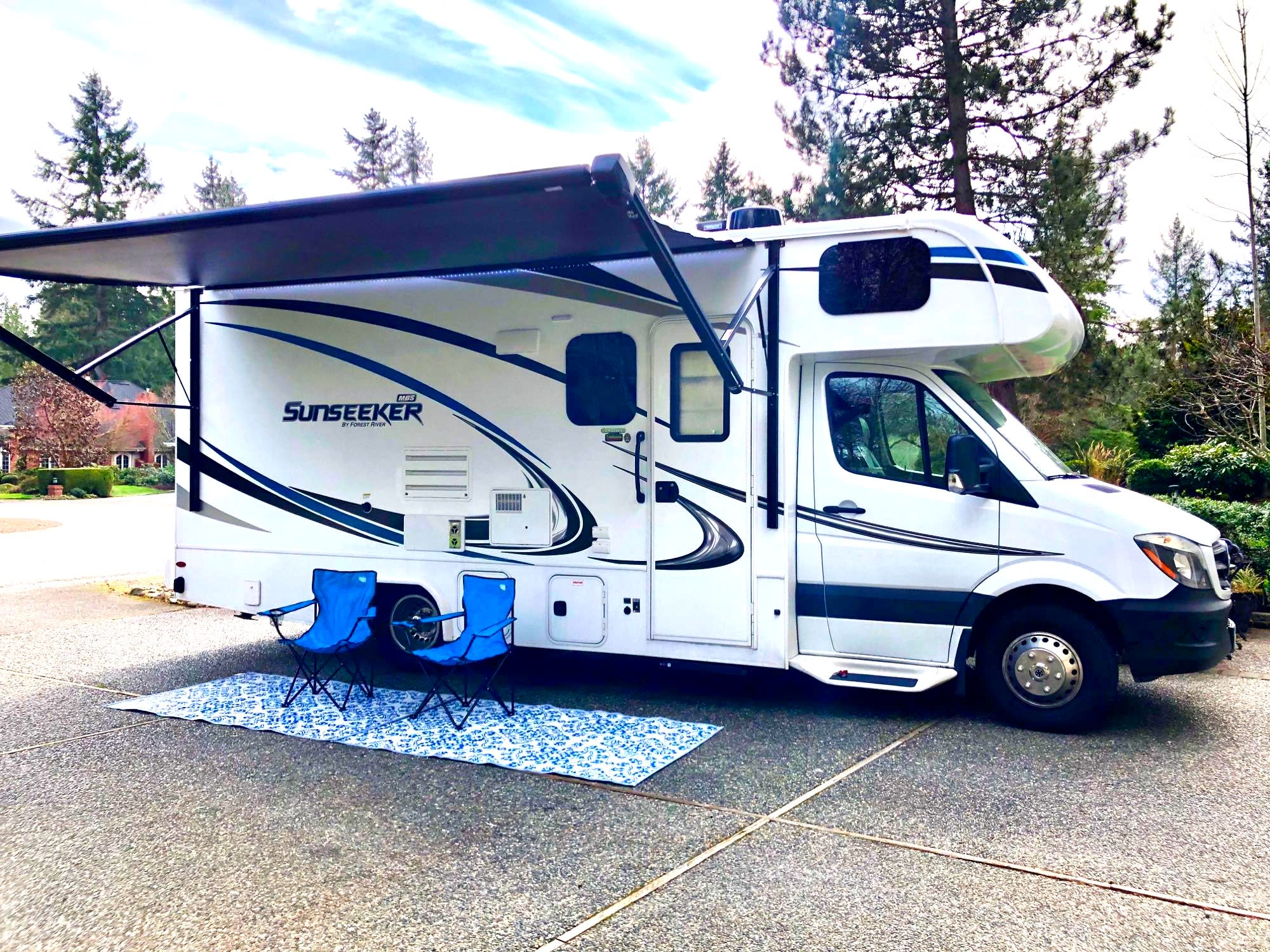 """24'11"""" of camping fun! Awning with LED lights, camp chairs, and outside speakers!. Forest River Sunseeker MBS 2019"""