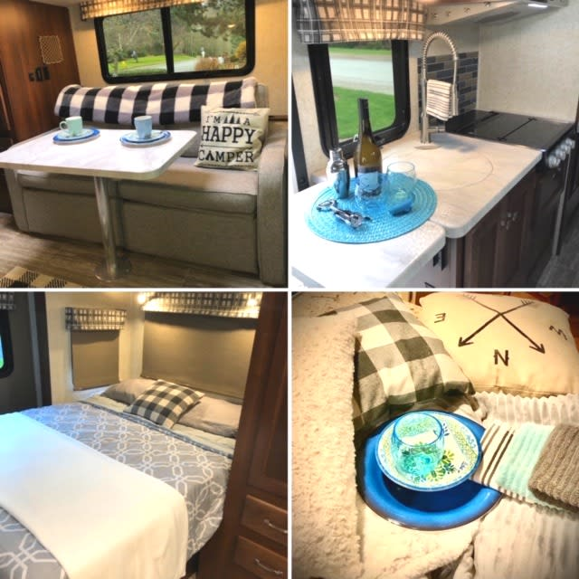 Furnished with style and all the comforts of home. Fluffy blankets, colorful dishes, and fun camping accessories.. Forest River Sunseeker MBS 2019