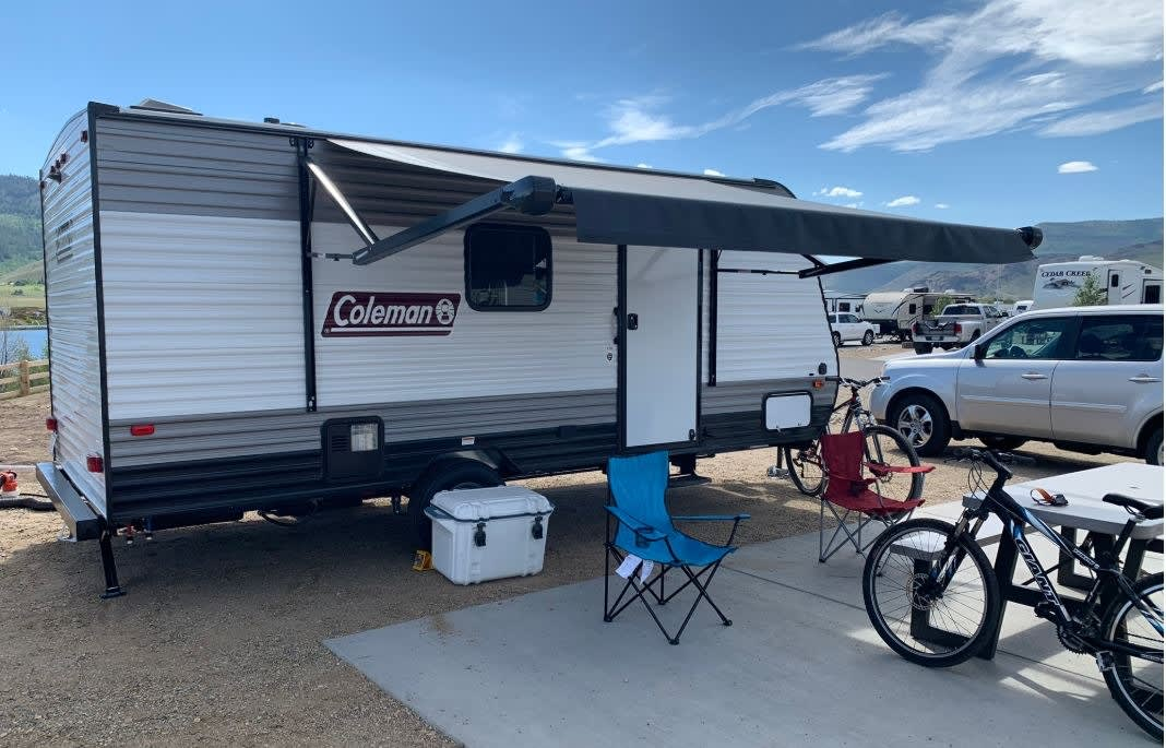 Power awning keeps it shaded during the day!. Coleman 17 Bunkhouse 2021