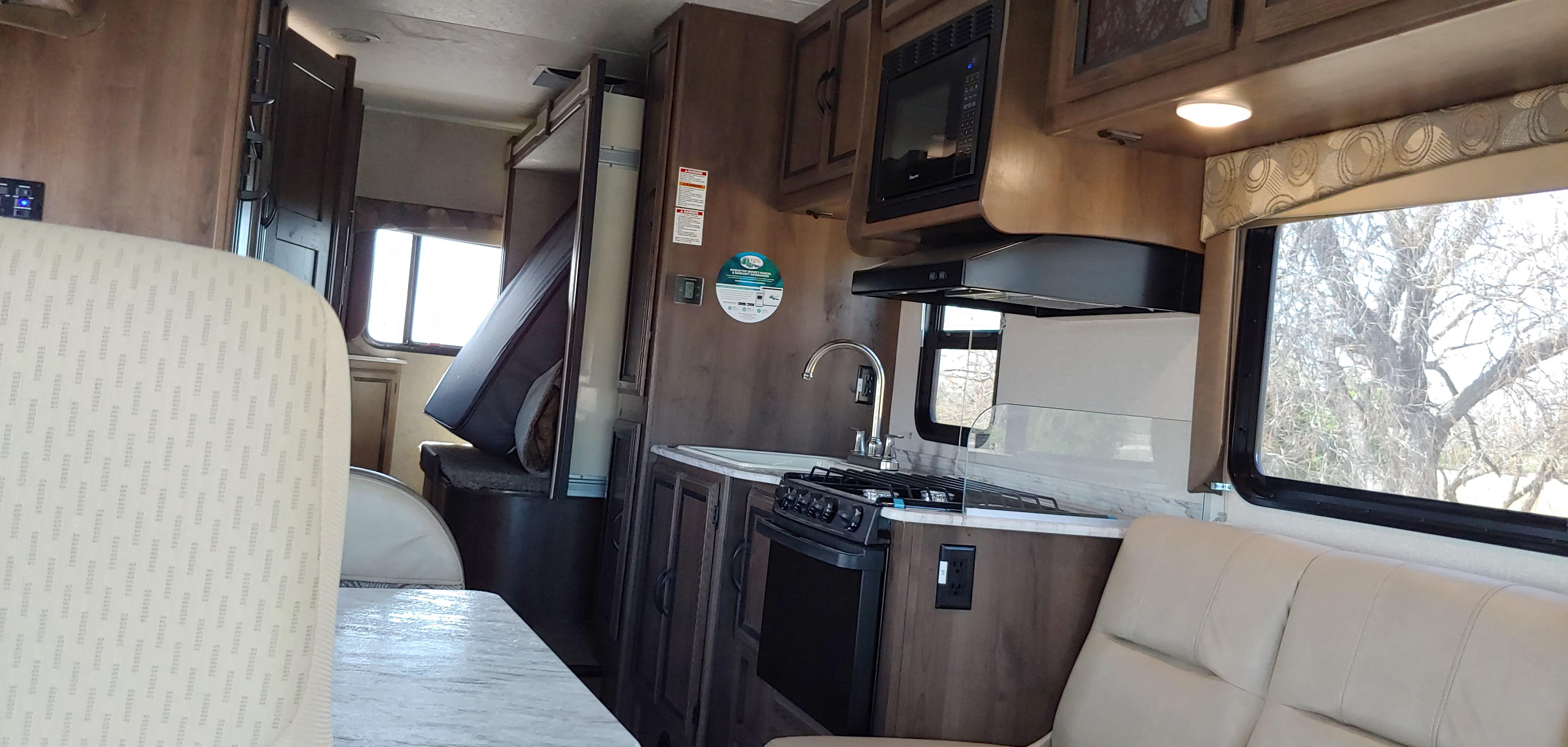 Still plenty of room to move around during travel.. Coachmen Freelander 2019
