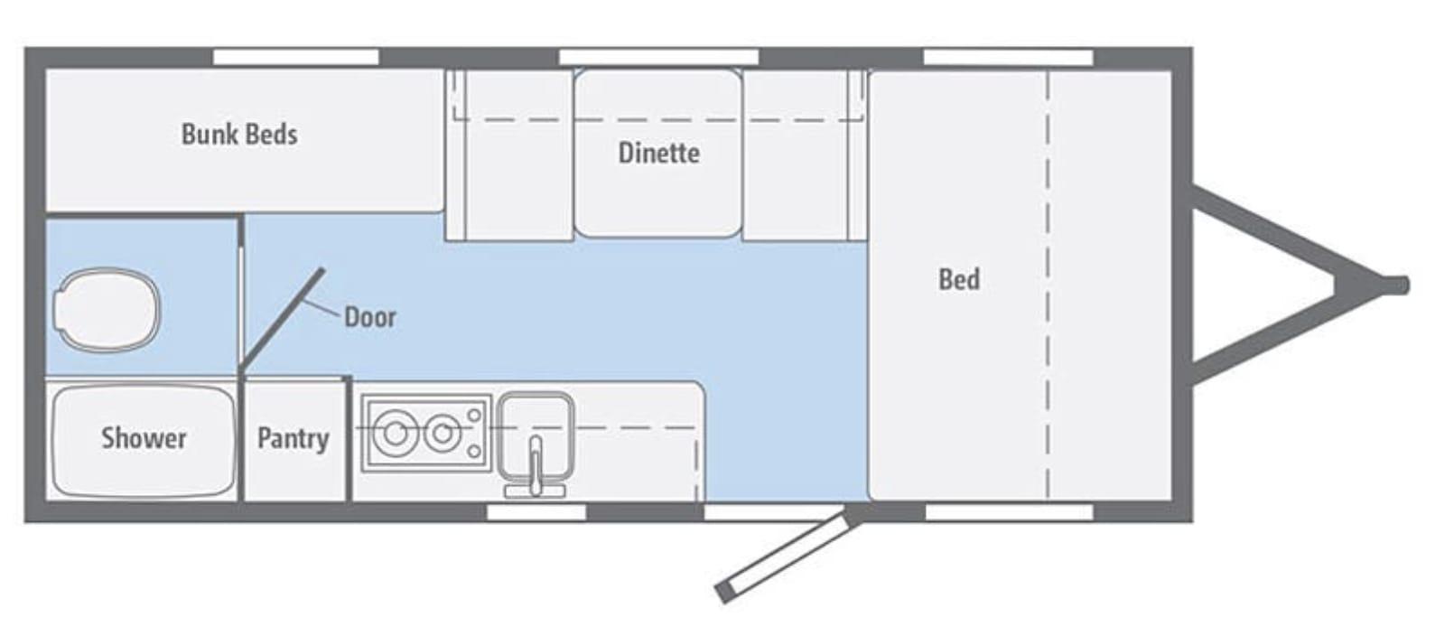 Micro Mini 2019 1700BH Floor Plan. Winnebago Micro Minnie 2019