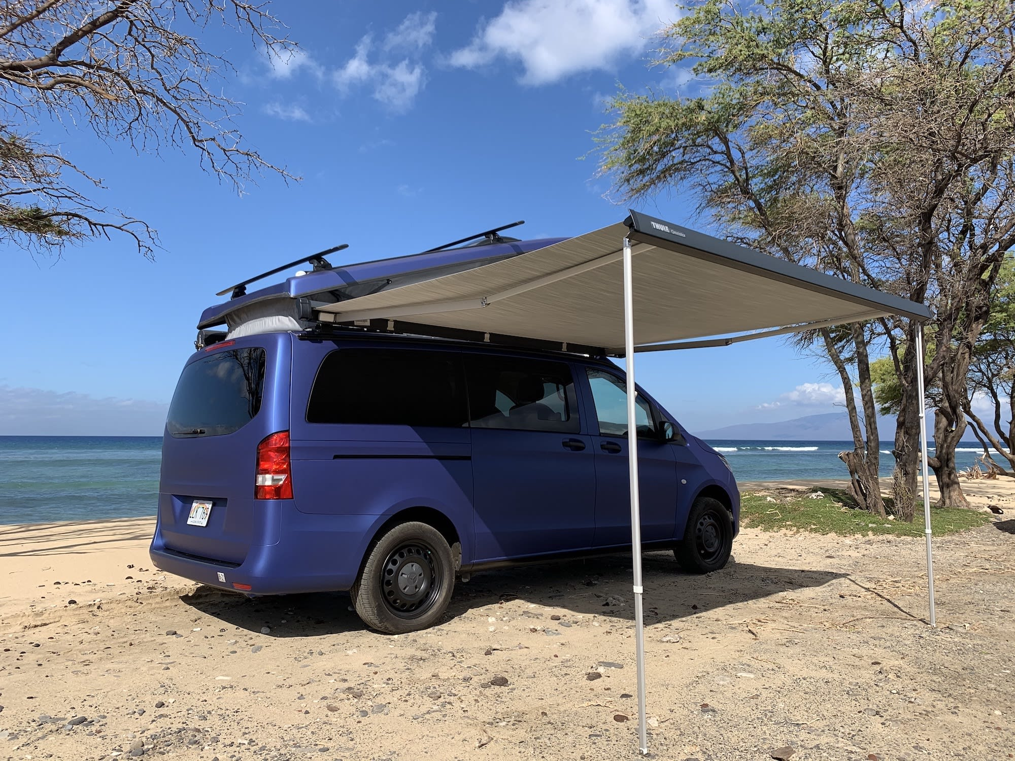 Rear Quarter View with Awning and Top Popped. Mercedes Metris Pop-Top 2019
