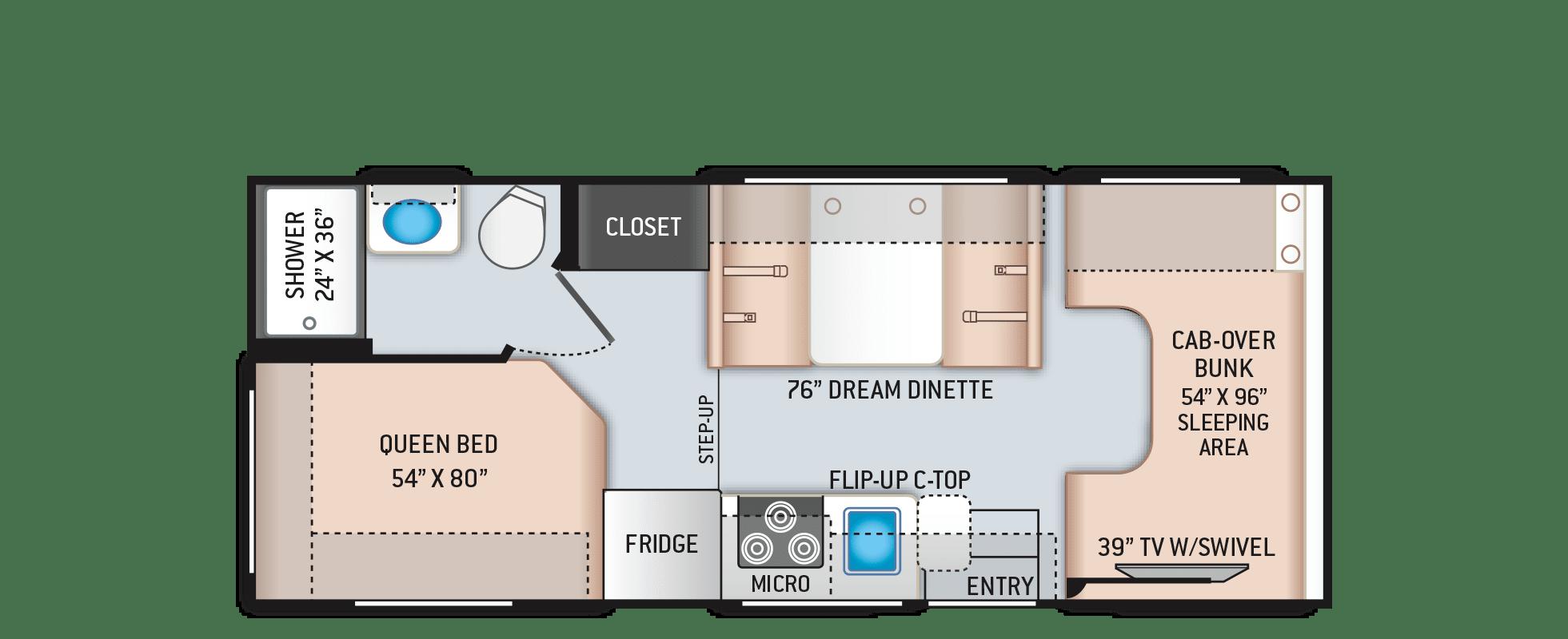 Floorplan. Thor Motor Coach Freedom Elite 2021