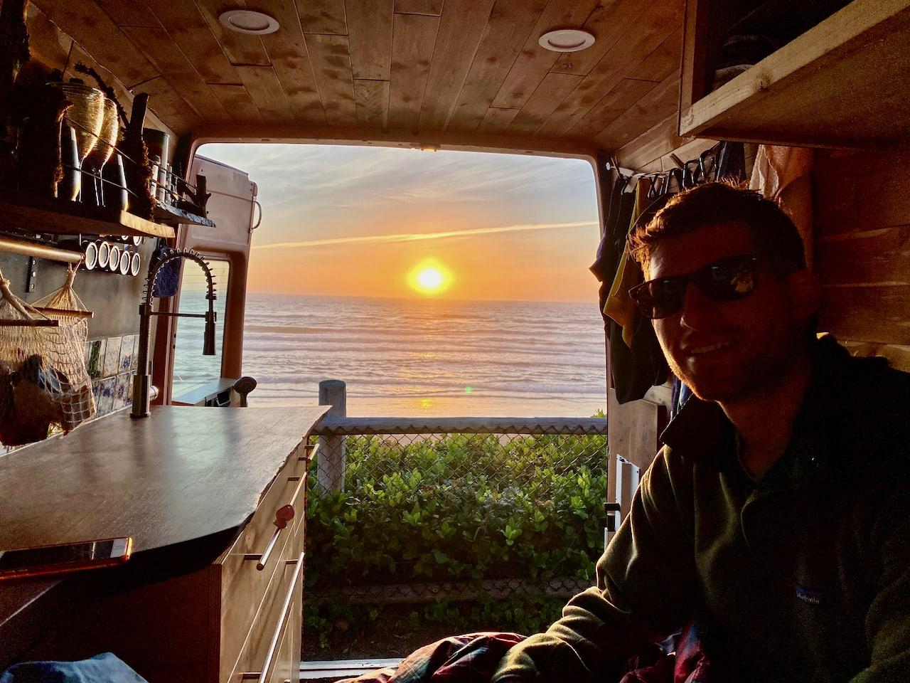 Sunset @ Oregon coast. Dodge Sprinter 2004