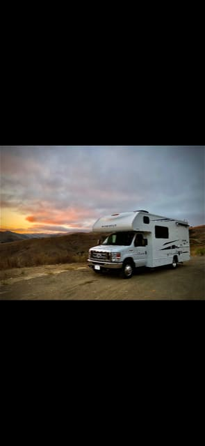 Pull off and enjoy dinner and the sunset. Winnebago Outlook 2019
