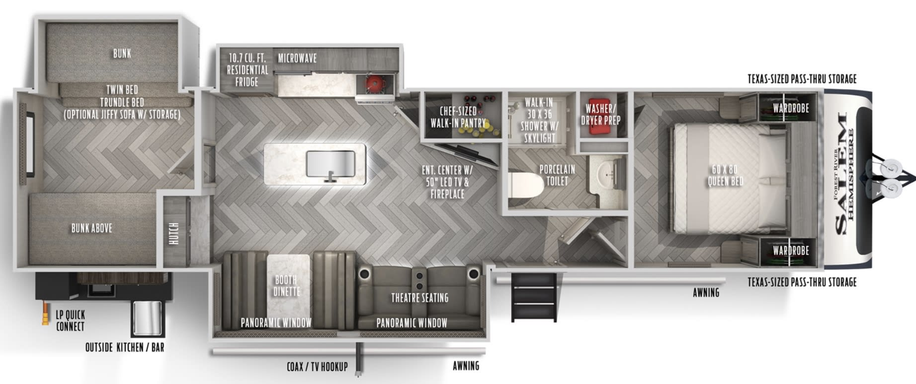 Amazing floorplan with seperate bunkhouse and master + rare washer/dryer!. Forest River Salem Hemisphere 2020