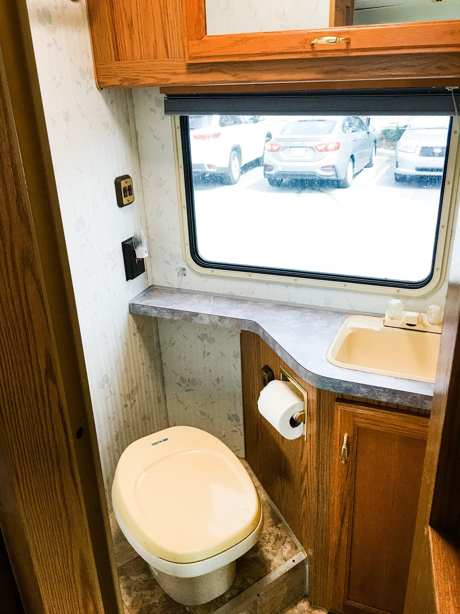 bathroom toilet/sink. Fleetwood Tioga Montara 1995