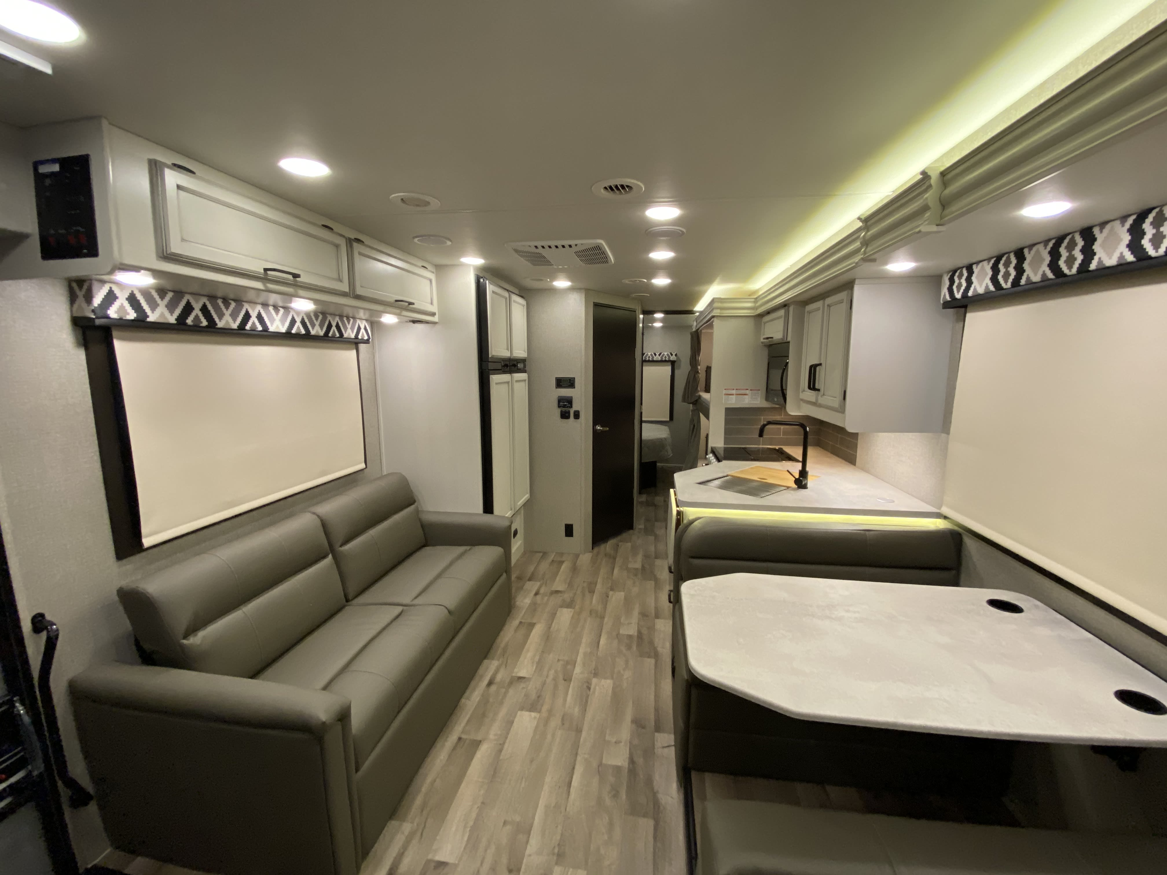 Kitchen, Dinette, and Sleeper Sofa. Jayco Greyhawk 2021