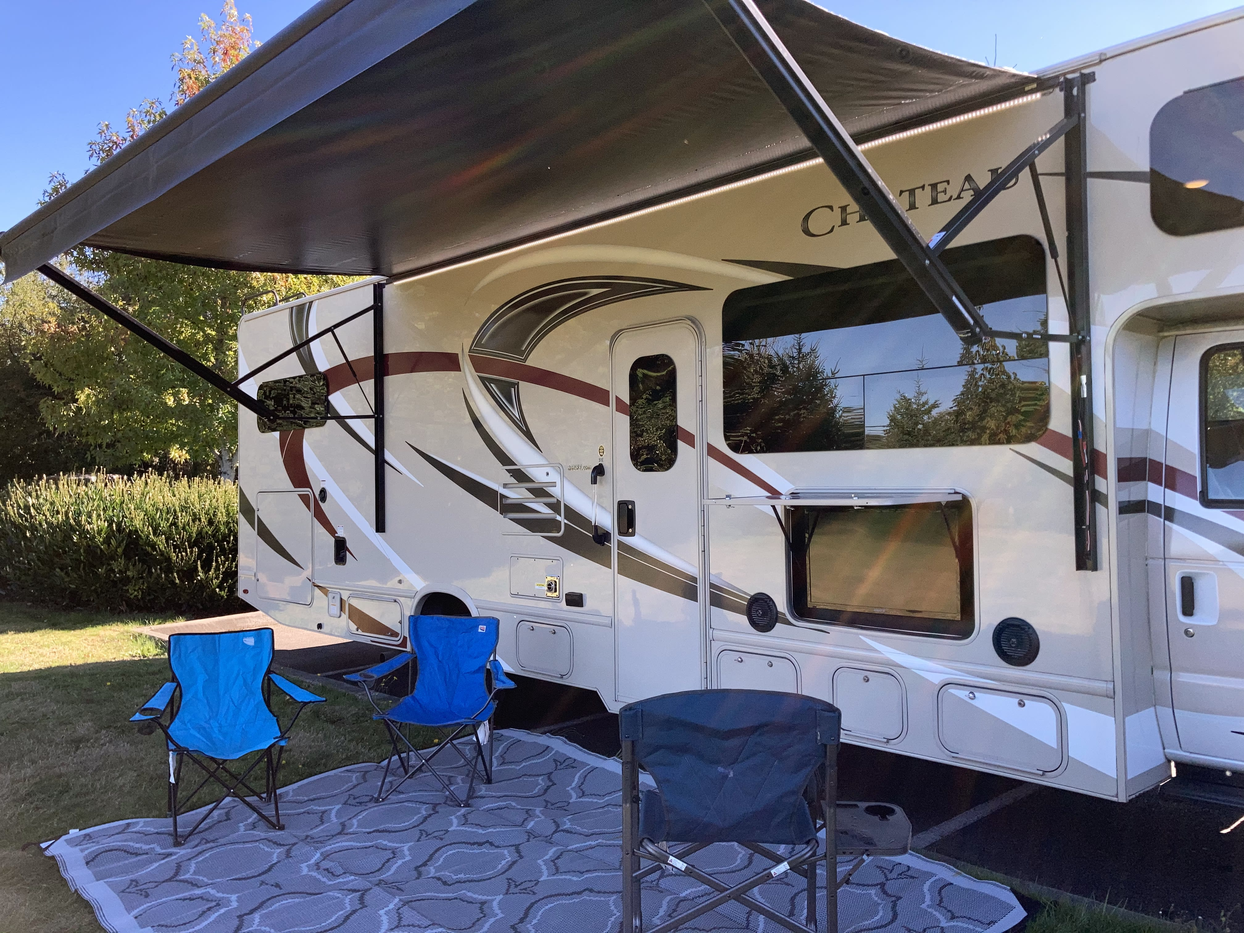 Yep....that's an outdoor TV...notice the automatic, adjustable, lighted awning too.. Thor Motor Coach Chateau 2018