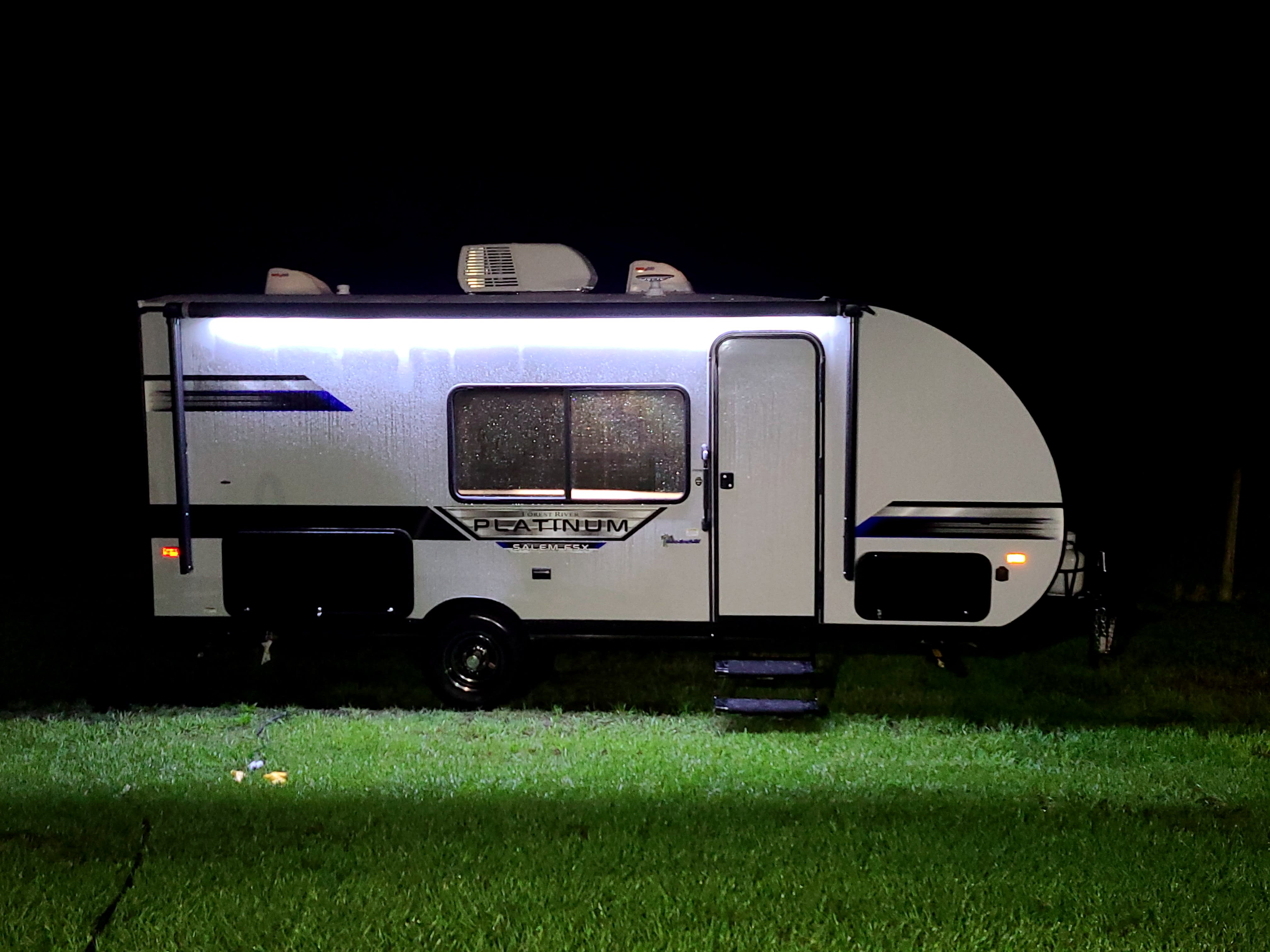 Full length awning with led lights for late night entertaining. Forest River Salem 2021