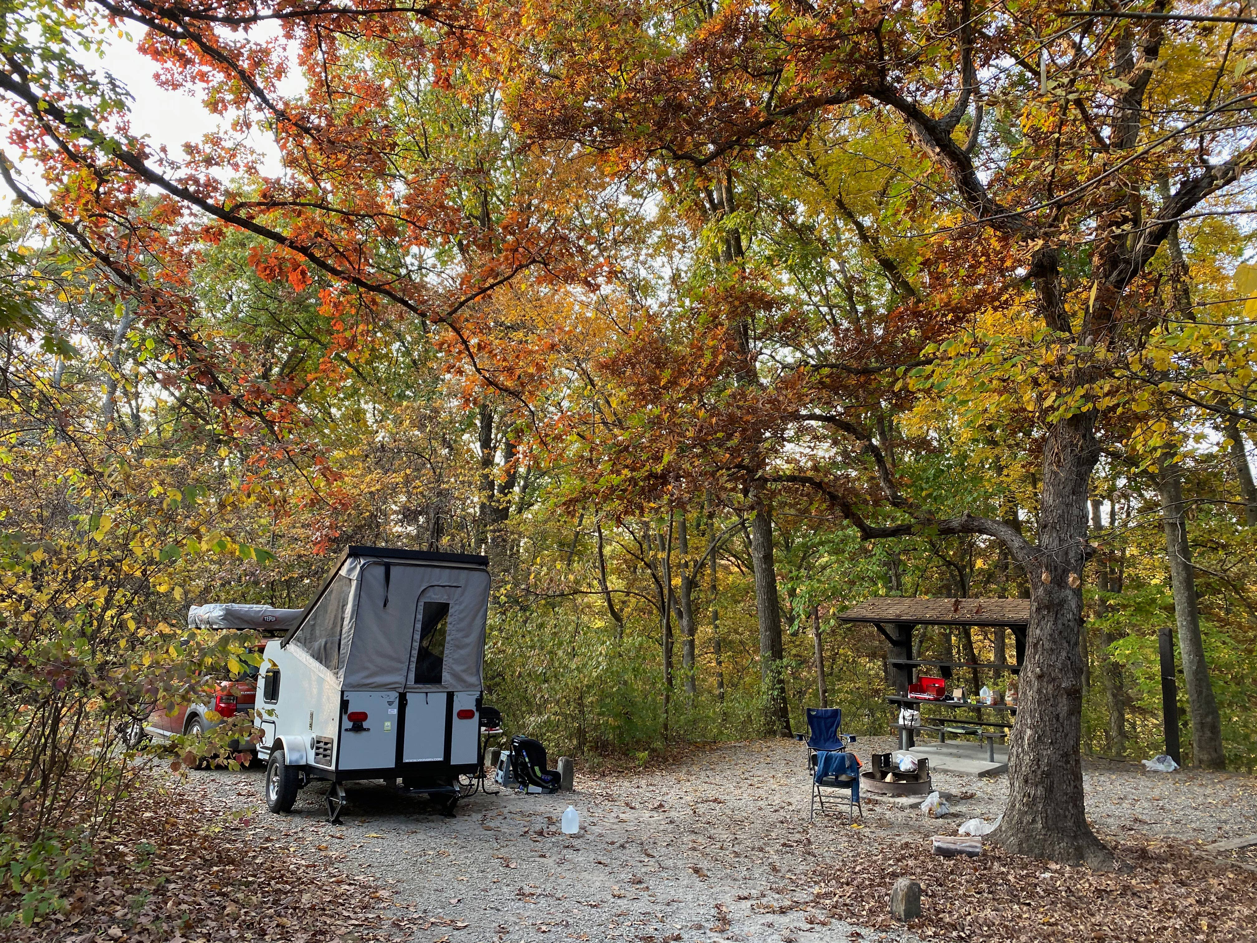 This is Astrid out in the fall just outside of Kansas City! She is so much fun to travel with and so easy to carry around at 1080lbs dry!. Coachmen Viking 2019