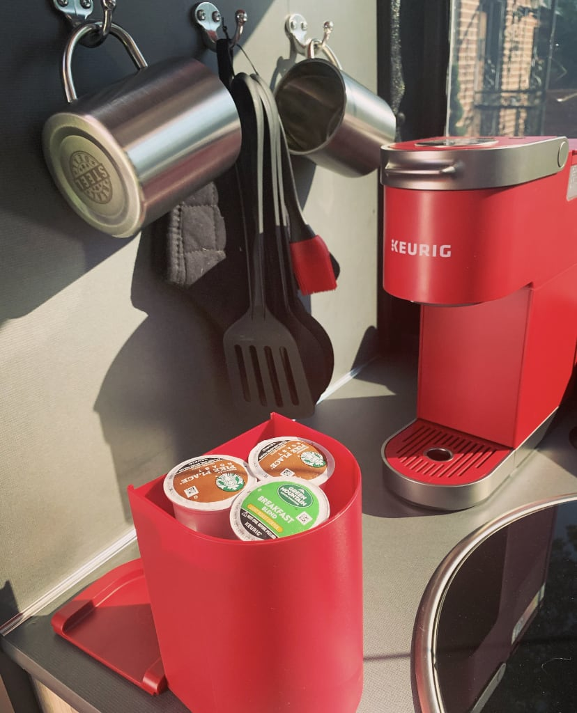 Keurig k-mini plus coffee maker (w/ k-cup pods). It needs shore-power to operate. . Airstream Base Camp X 2020