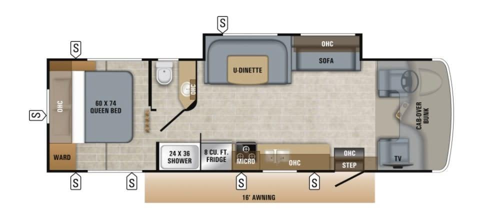 Motor home floor plan.. Jayco Redhawk 29XK 2019