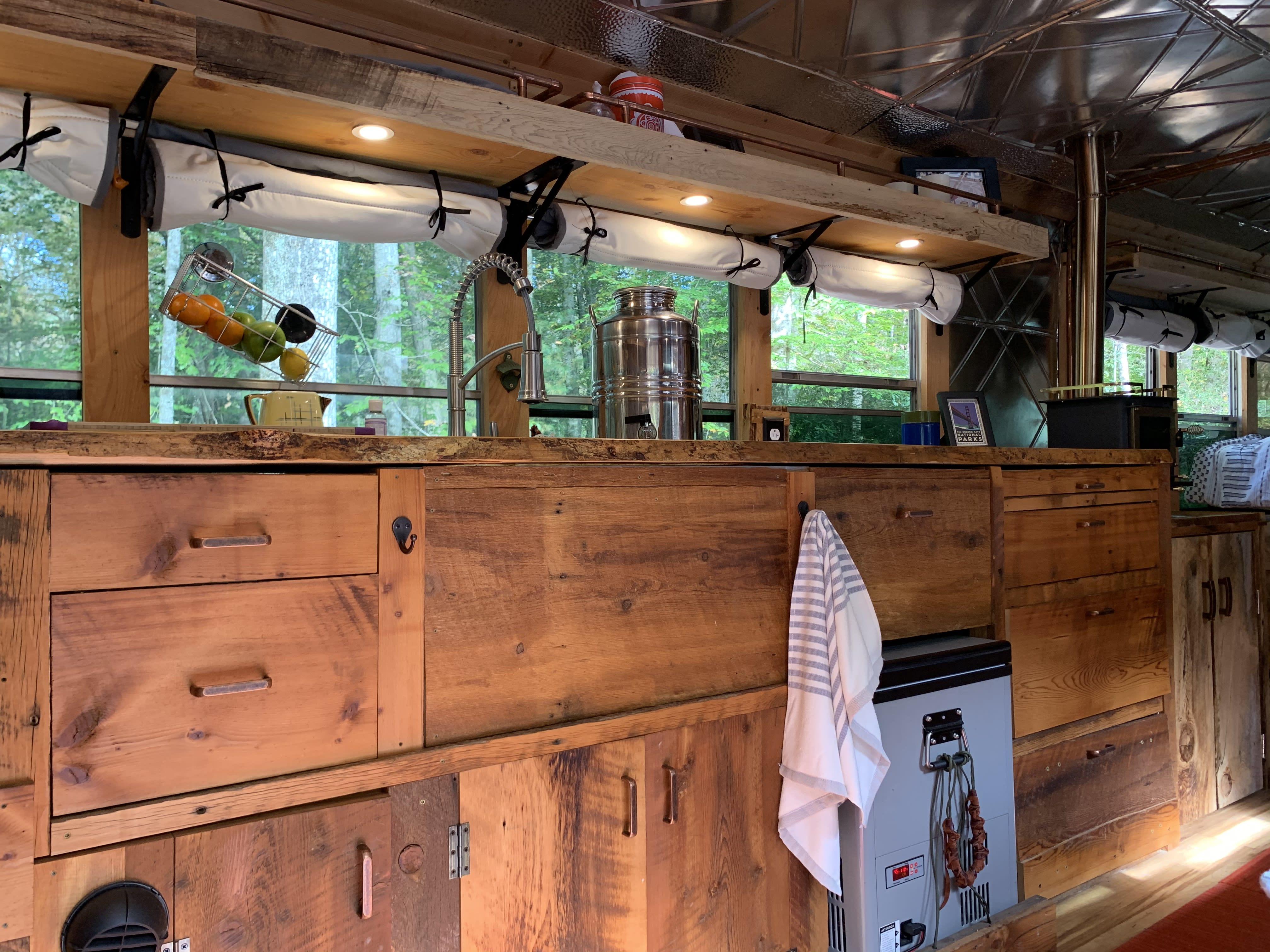 Kitchen area. Blue Bird Bus 1998